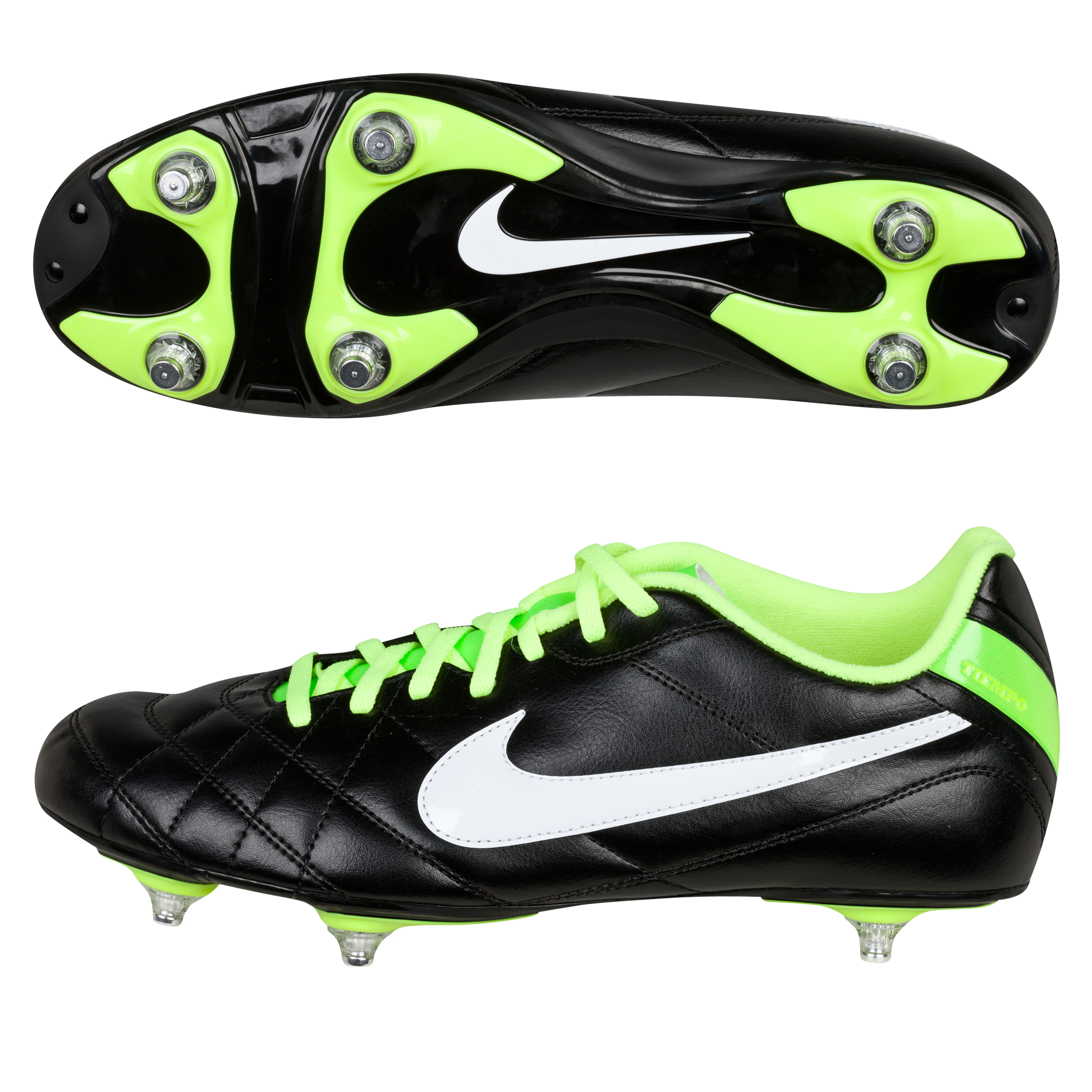 Nike Tiempo Rio Soft Ground Football Boots - Black/White/Electric Green