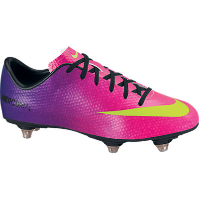 Nike Mercurial Victory IV Soft Ground Football Boots - Kids - Fireberry/Electric Green/Red Plum