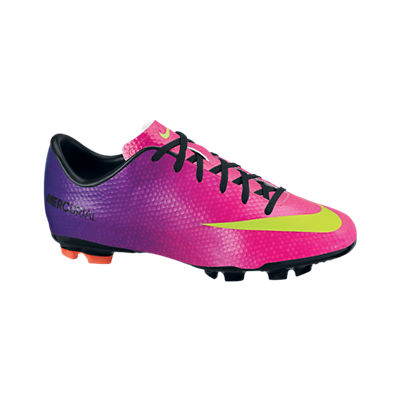 Nike Mercurial Victory IV Firm Ground Football Boots - Kids - Fireberry/Electric Green/Red Plum