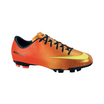Nike Mercurial Victory IV Firm Ground Football Boots - Kids - Sunset/Volt/Total Crimson