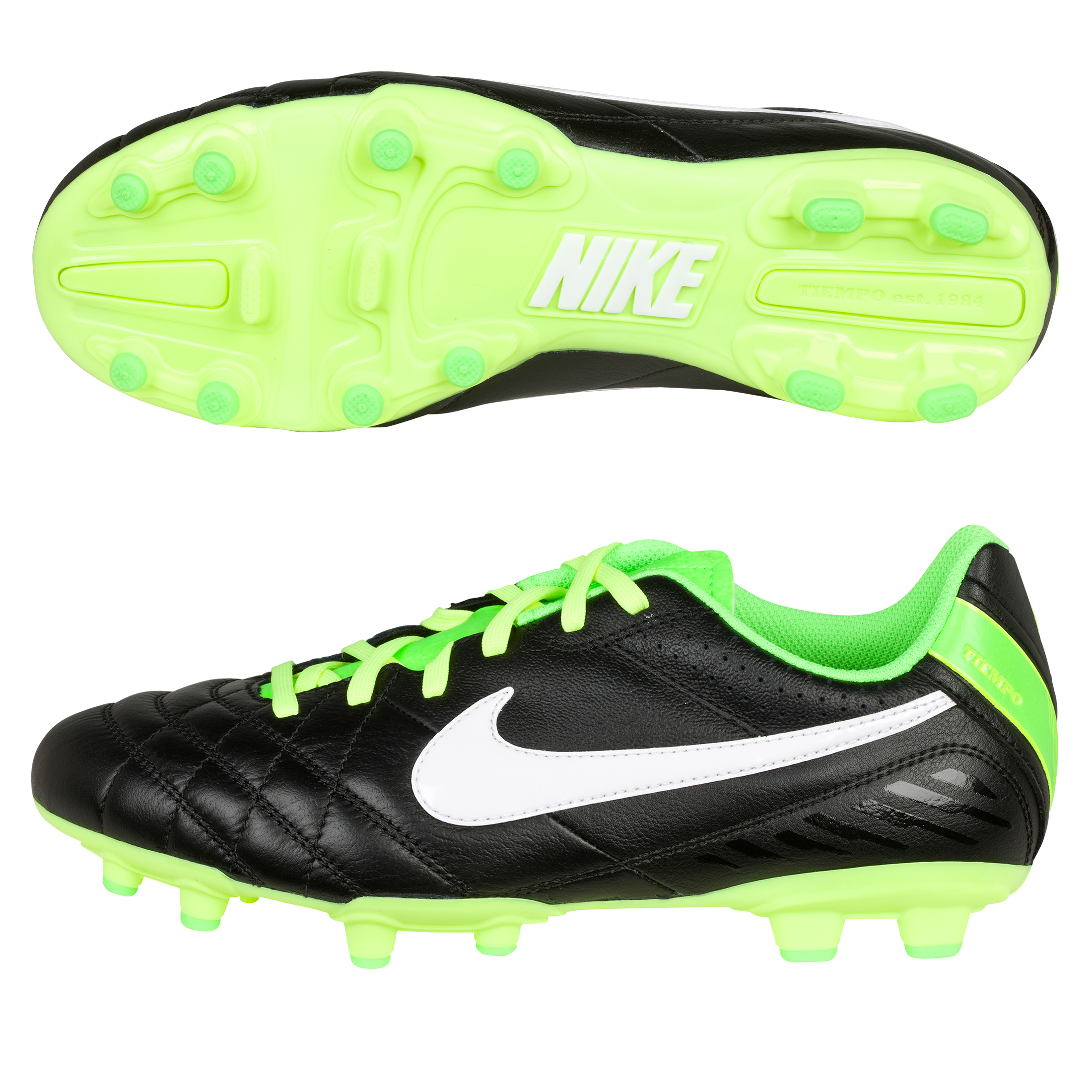 Nike Tiempo Natural IV Ltr Firm Ground Football Boots - Black/White/Electric Green - Kids