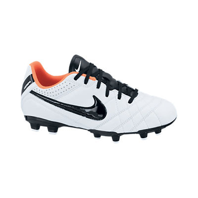 Nike Tiempo Natural IV Ltr Firm Ground Football Boots - Kids - White/Black/Total Crimson