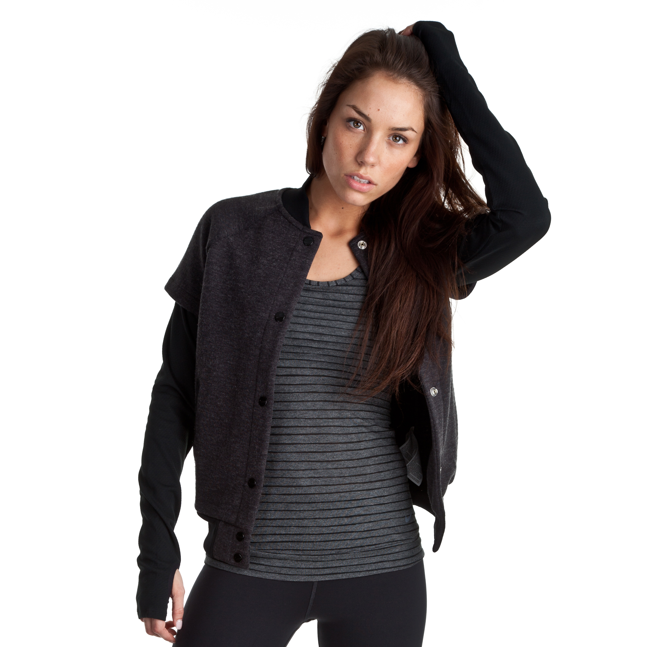 Nike Sphere Bomber Jacket- Black Heather/Black/Black - Womens