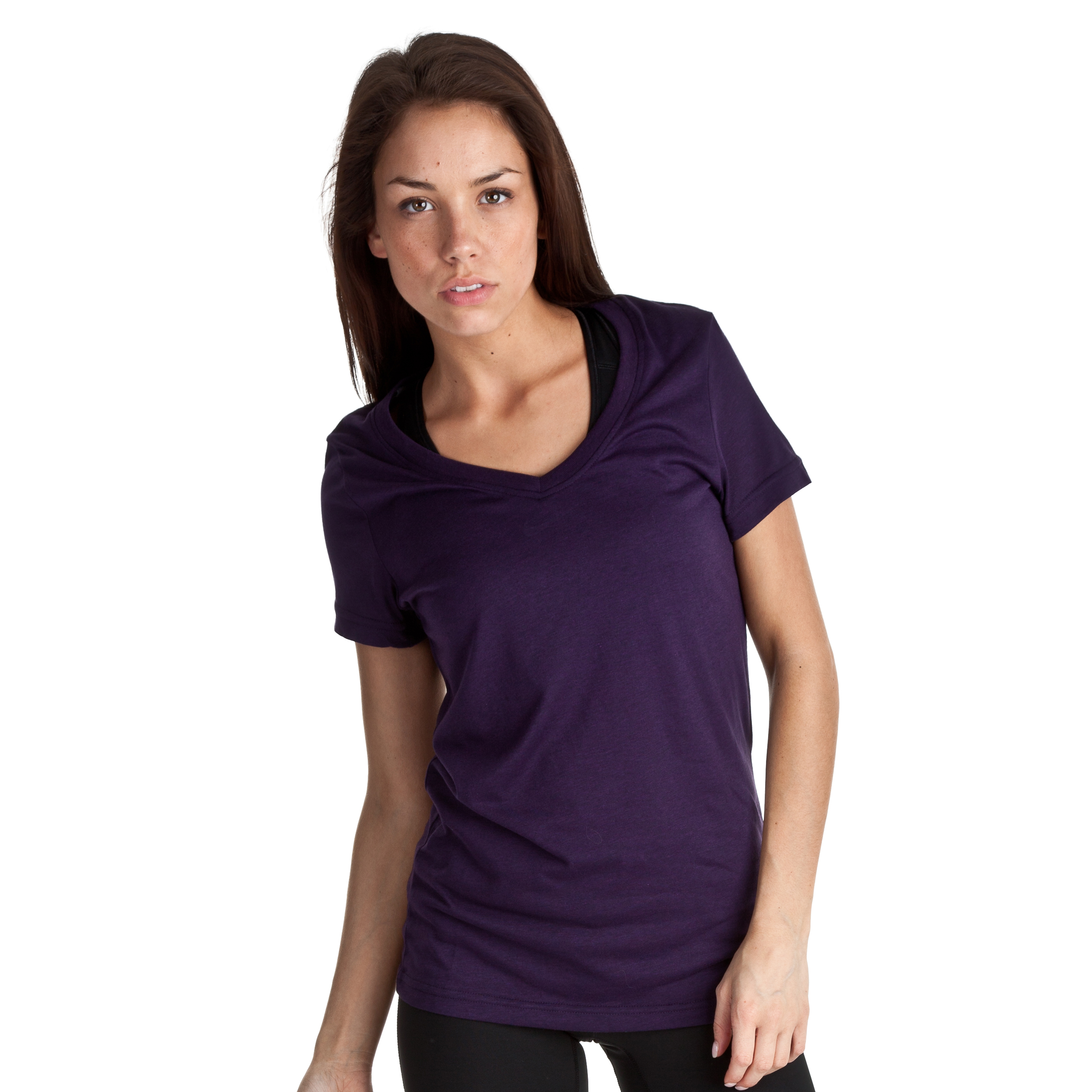 Nike Loose Dri-Blend Short Sleeve V-Neck Tee - Grand Purple/Atomic Purple - Womens