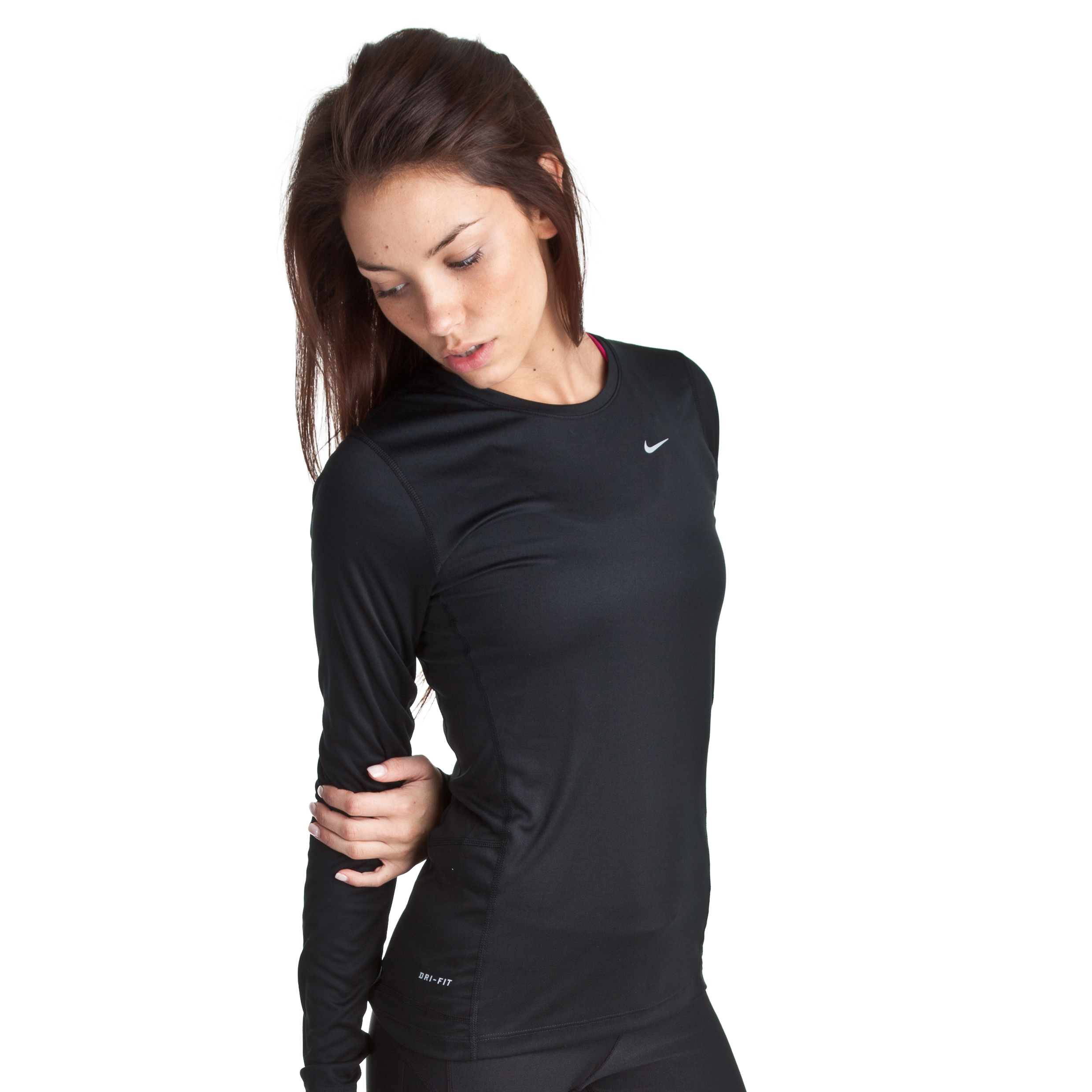Nike Miler Long Sleeve Top - Black/Metallic Bronze - Womens
