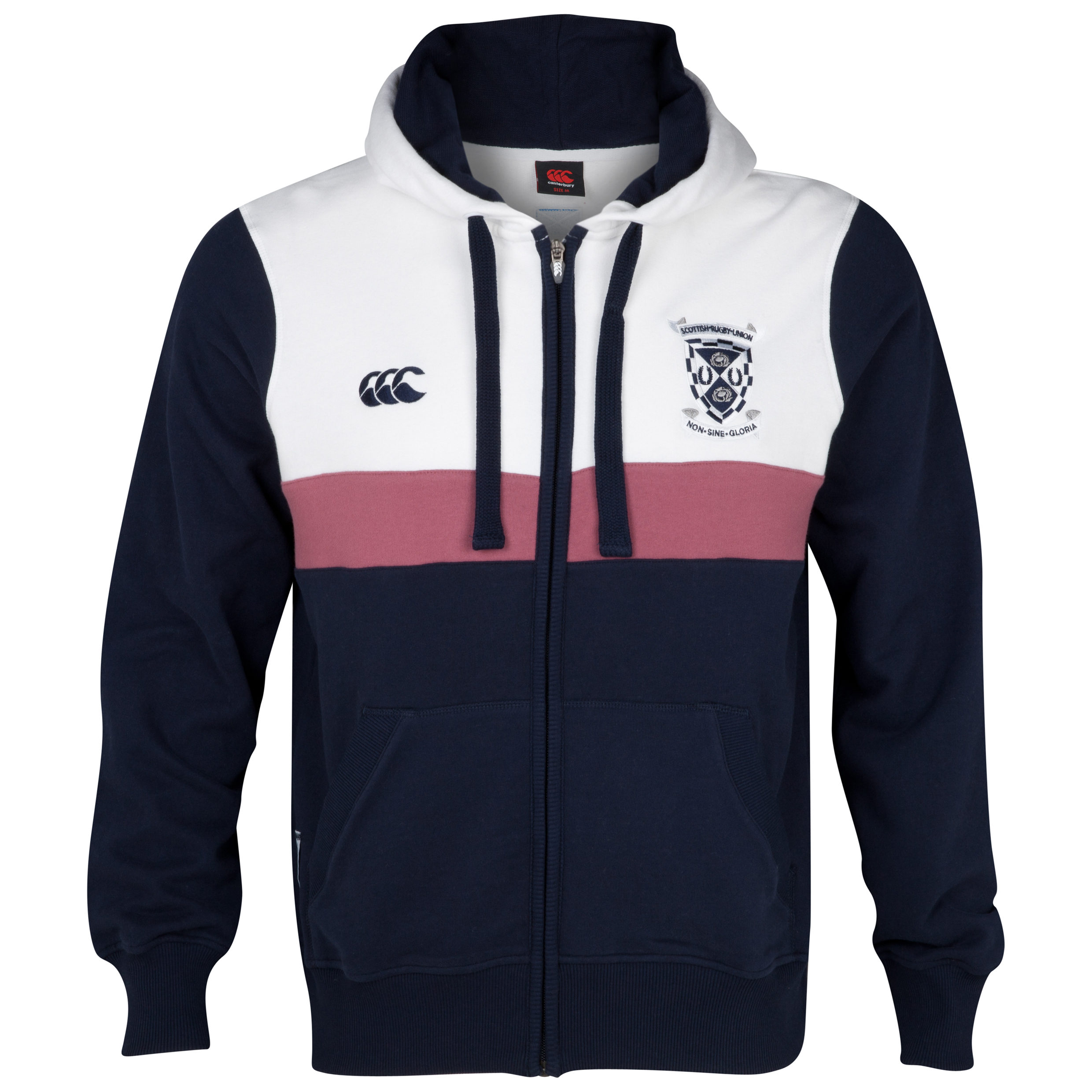 Scotland Full Zip Hooded Sweatshirt - Navy/White
