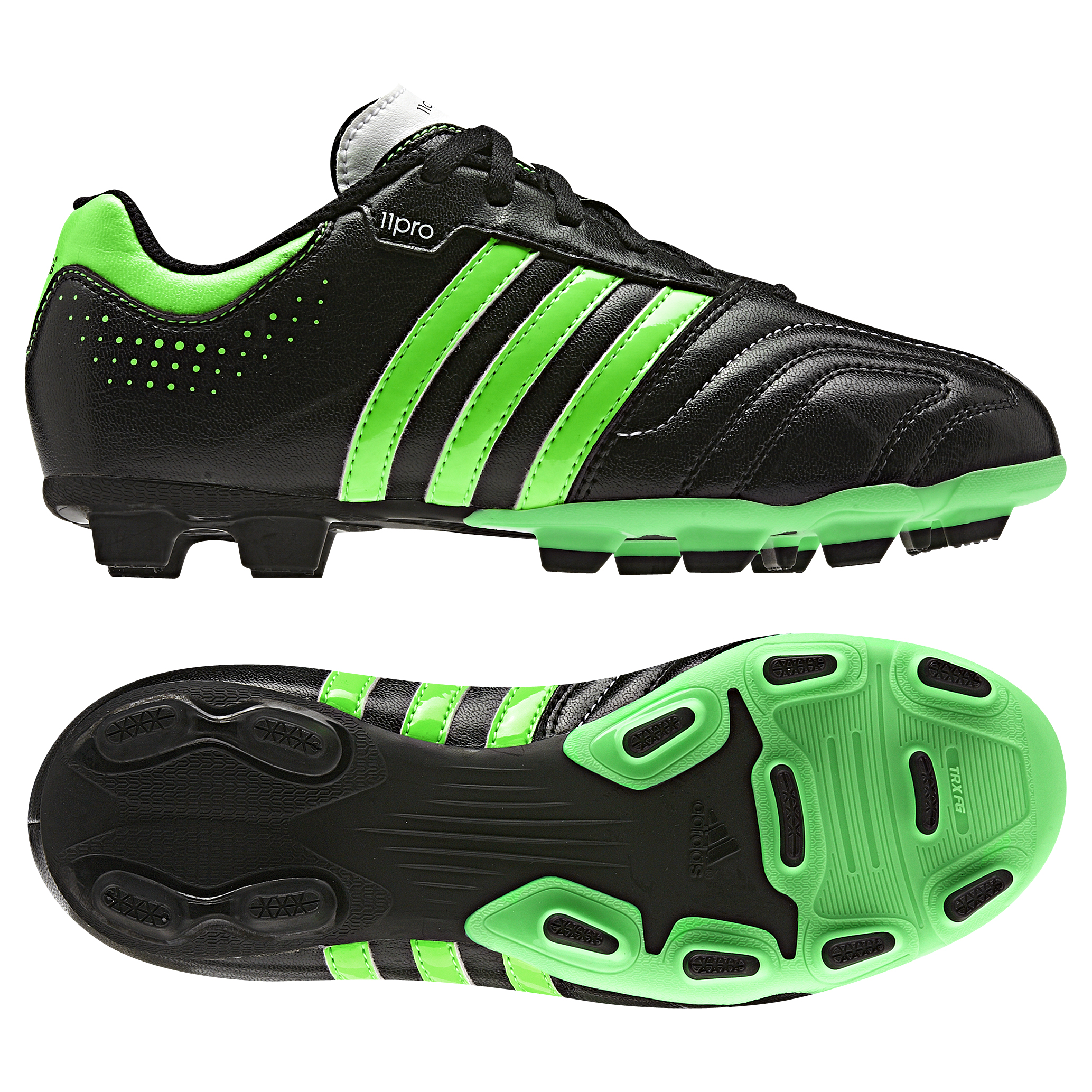 adidas AdiPure 11Questra TRX Firm Ground Football Boots - Black/Green Zest/Running White  - Kids