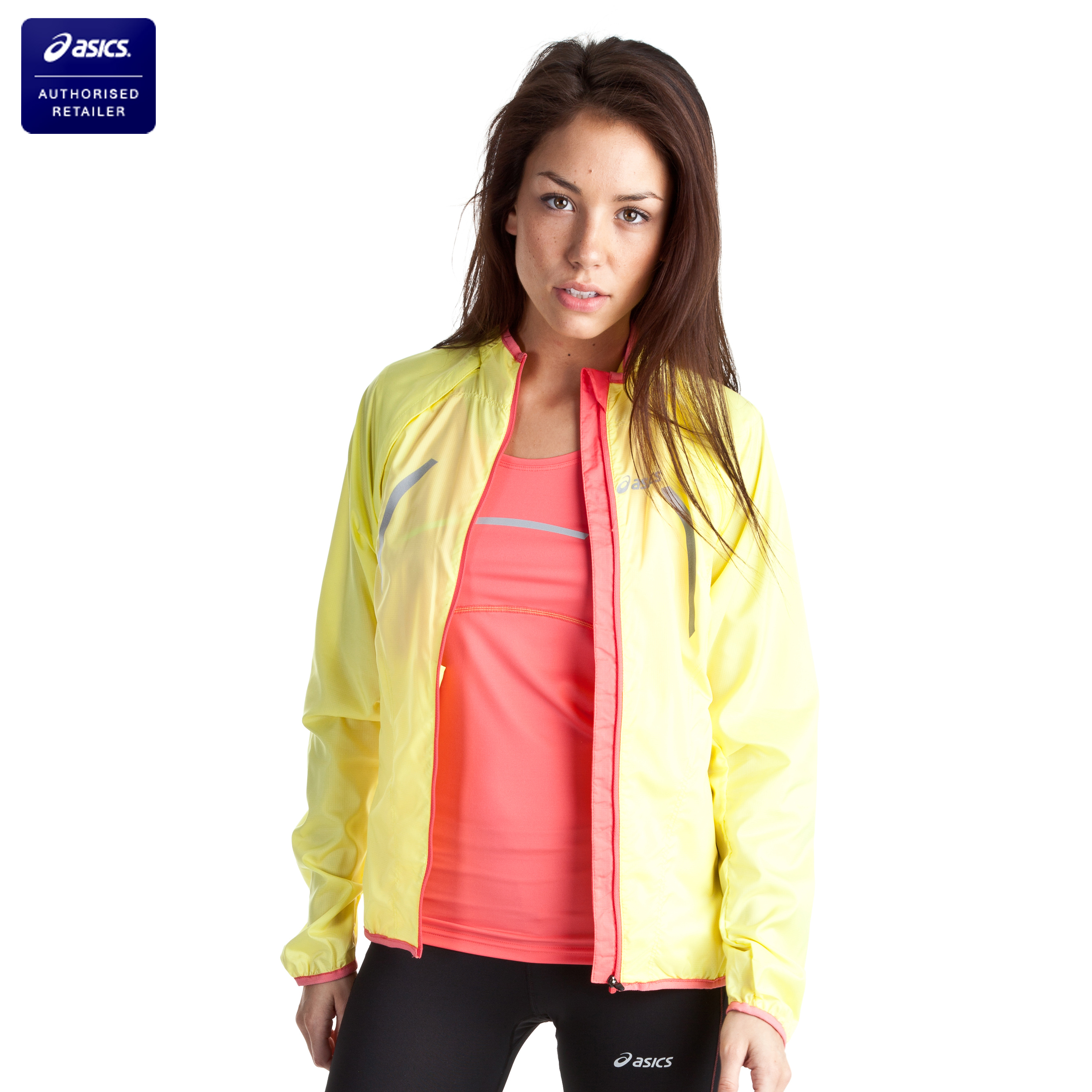 Asics Convertible Jacket - Sunshine Yellow/Coral - Womens