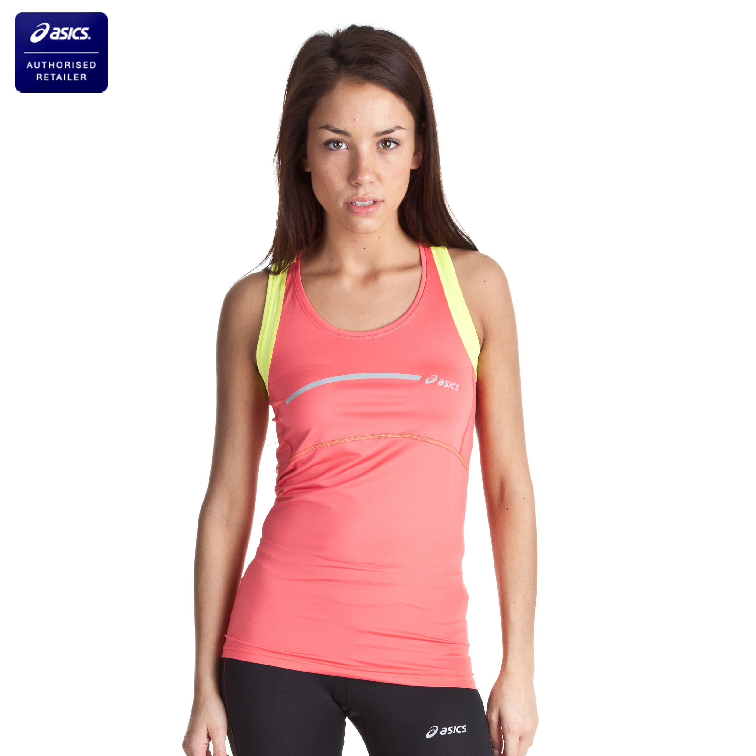 Asics Tank Top - Coral/Sunshine Yellow - Womens