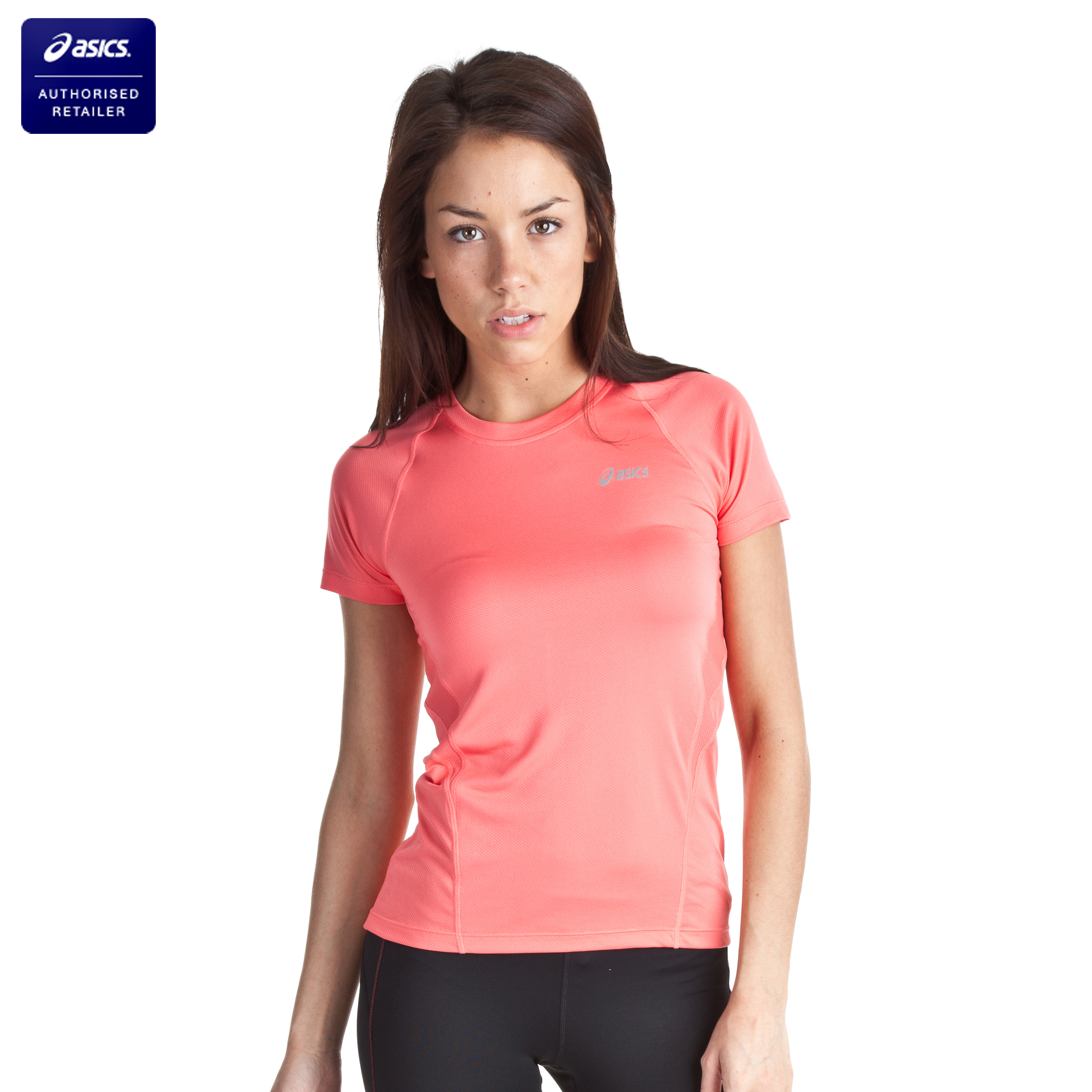 Asics Short Sleeve Crew - Coral - Womens