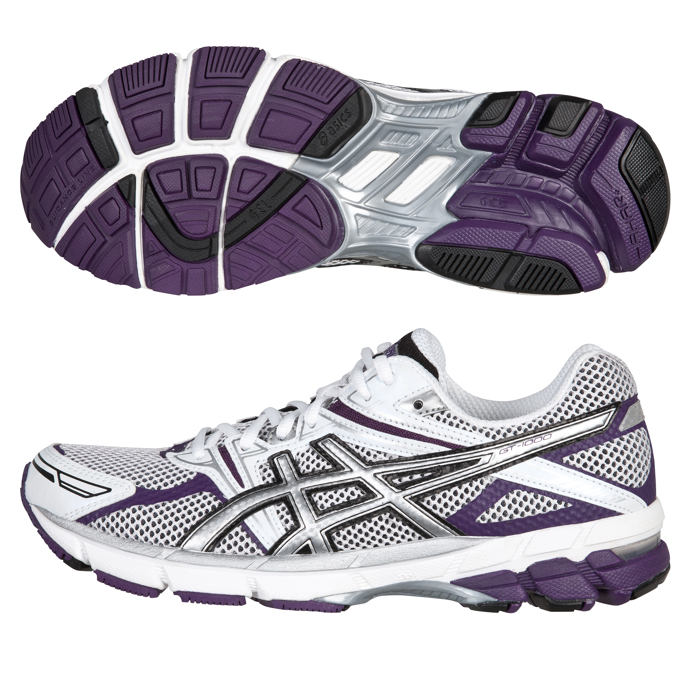 Asics Gt-1000 Trainer - White/Silver/Purple - Womens
