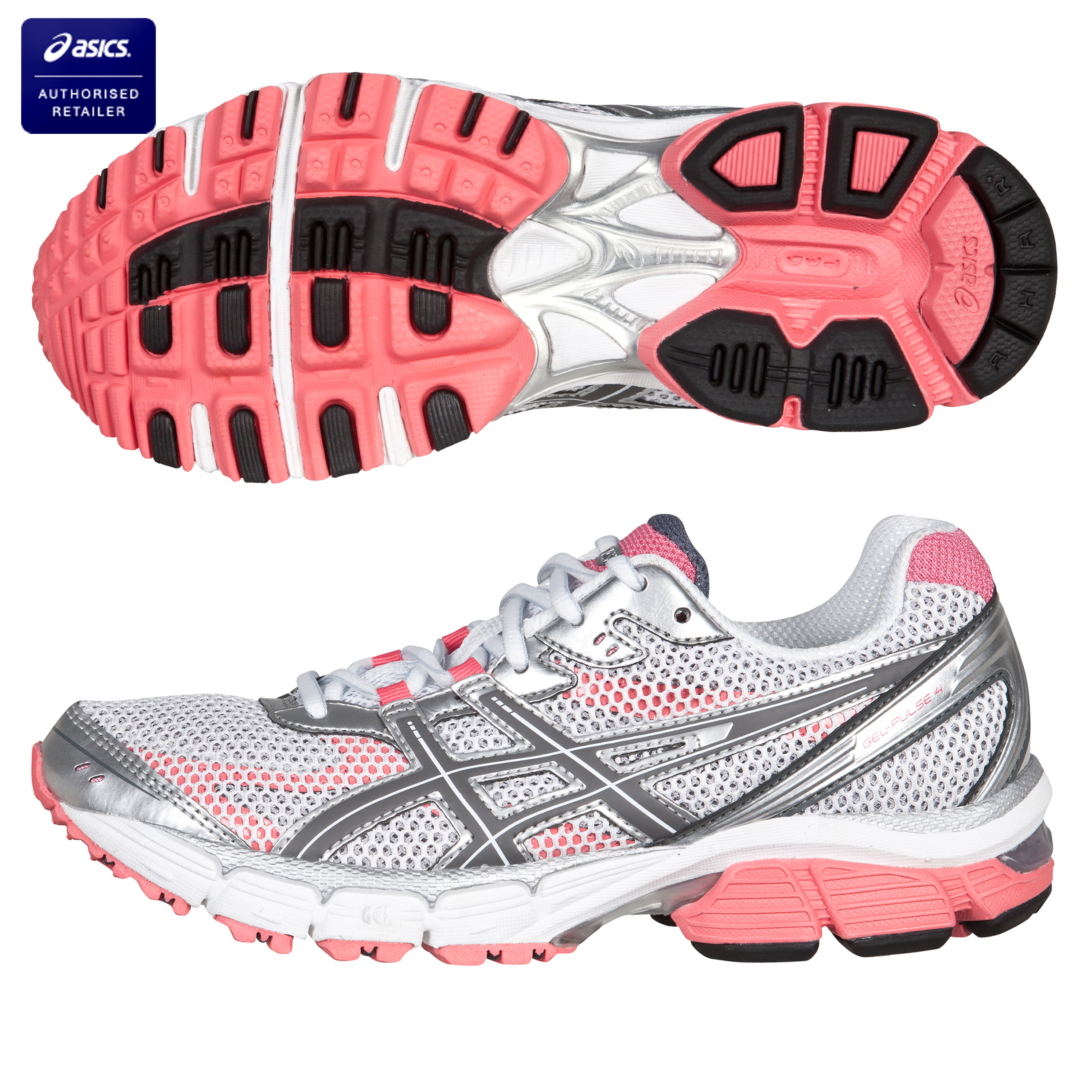 Asics Gel-Pulse 4 Trainer - White/Grey/Rose Pink - Womens