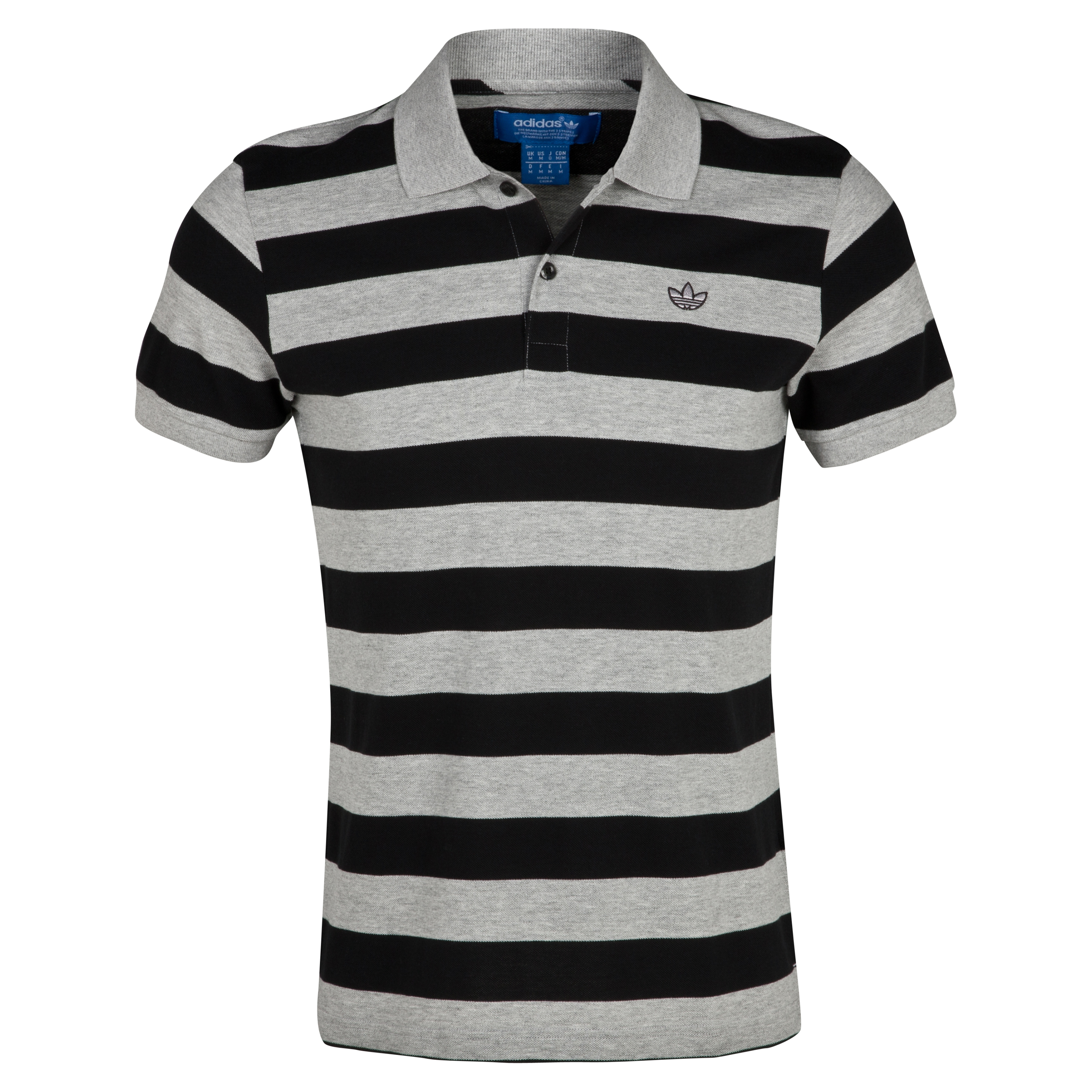 Originals Sailor Stripe Polo - Medium Grey Heather/Black