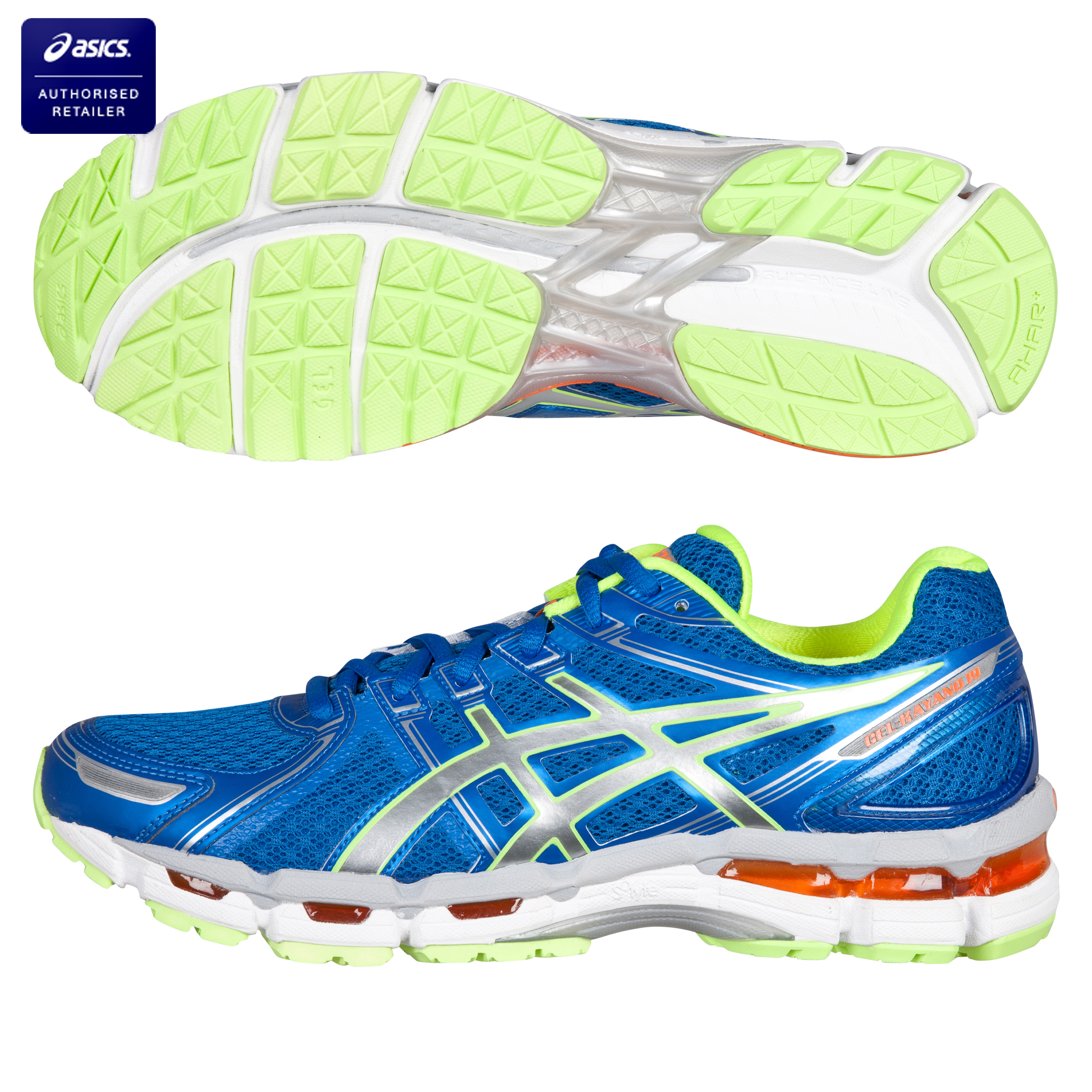 Asics Gel Kayano 19 Stability Running Trainers - Blue/White/Neon Yellow