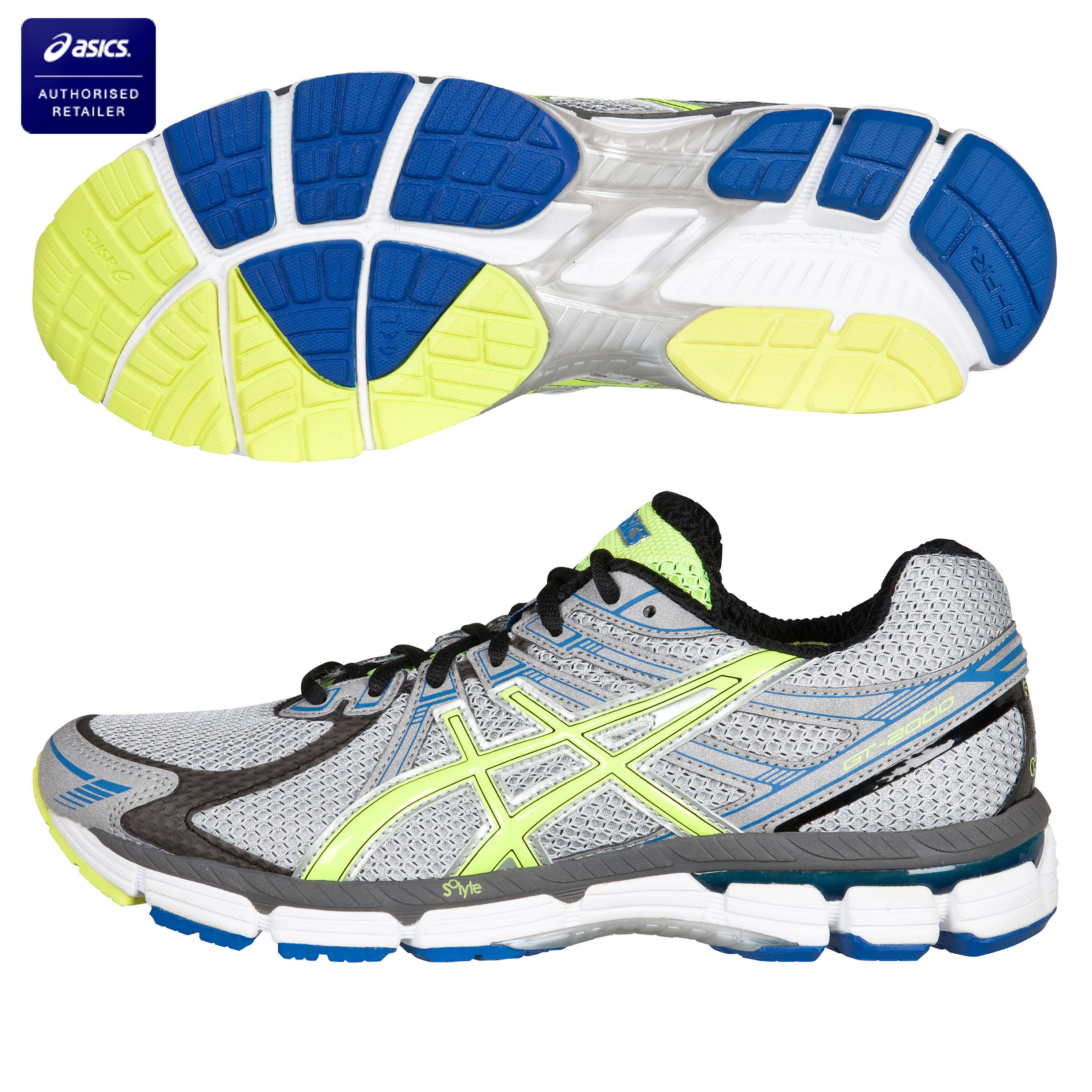 Asics GT 2000 Stability Running Trainers - Silver/Neon Yellow/Blue