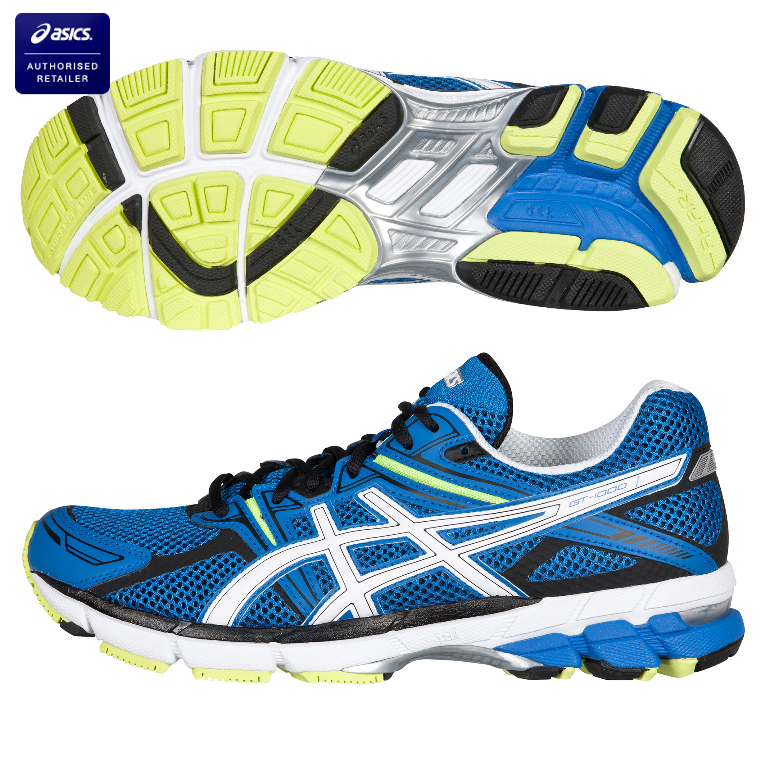Asics GT 1000 Stability Running Trainers - Blue/White/Neon Yellow