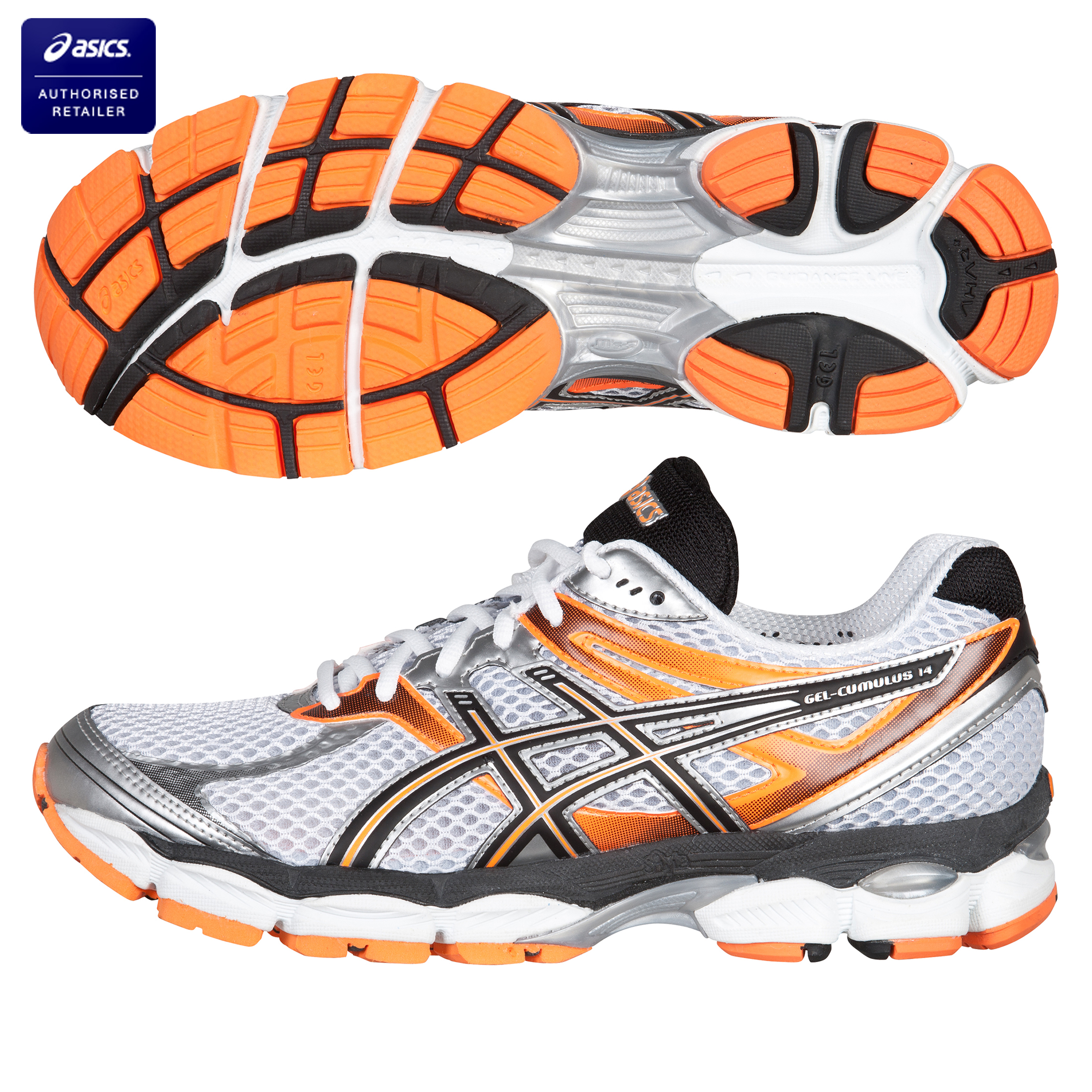 Asics Gel Cumulus 14 Neutral Running Trainers - White/Black/Neon Orange