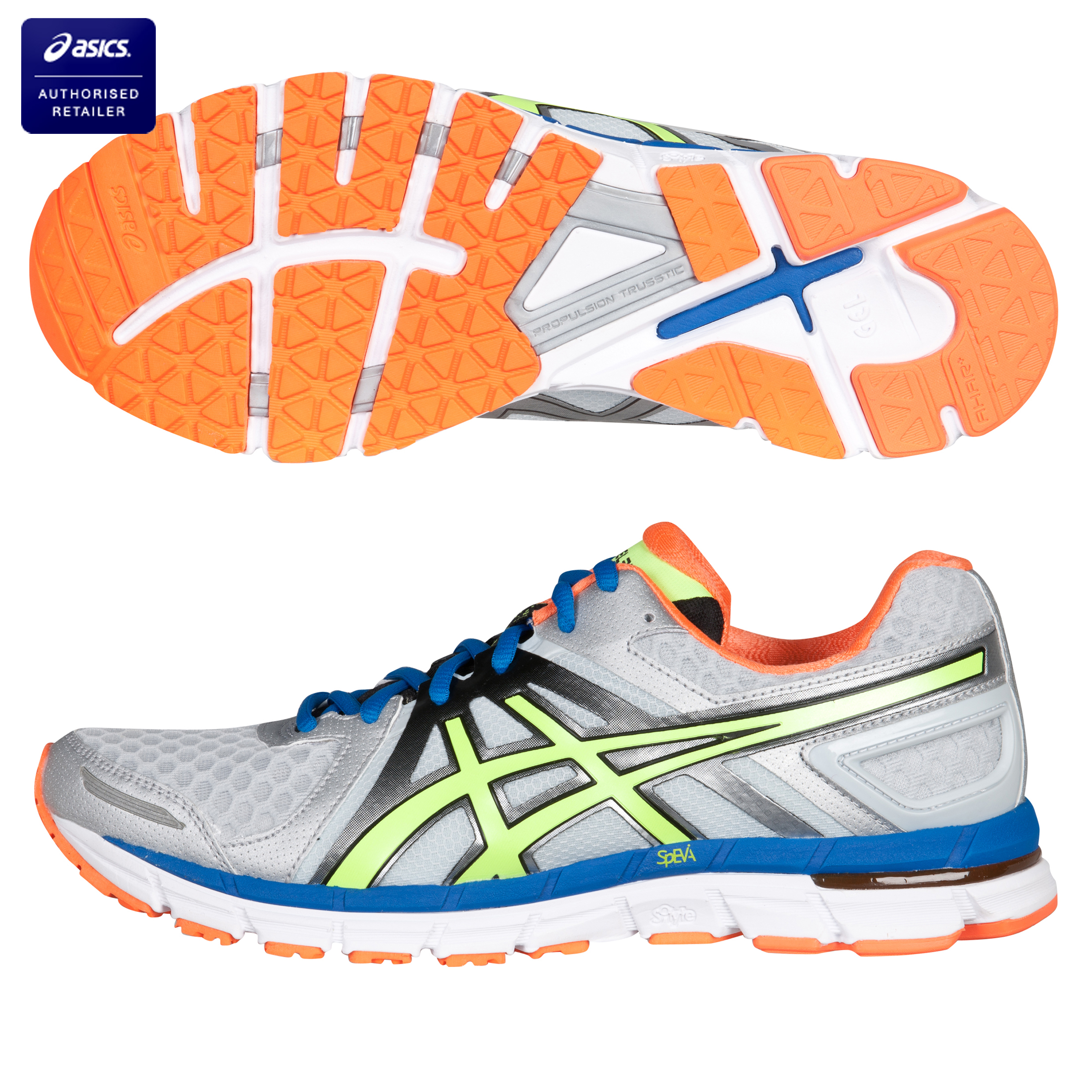 Asics Gel-Excel 33 2 Natural Running Trainers - Silver/Neon Yellow/Neon Orange