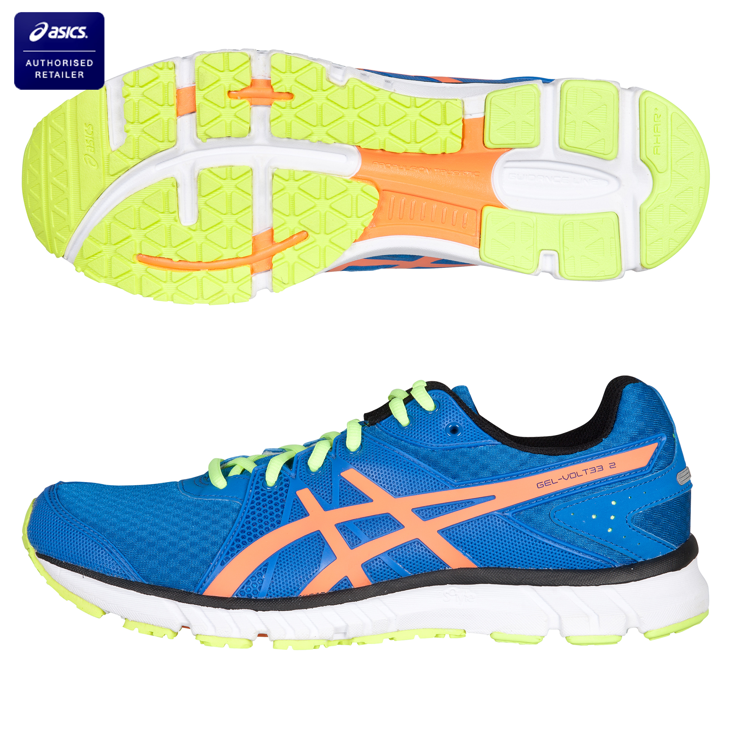 Asics Gel-Volt 33 2 Natural Running Trainers - Brilliant Blue/Neon Orange/Neon Yellow