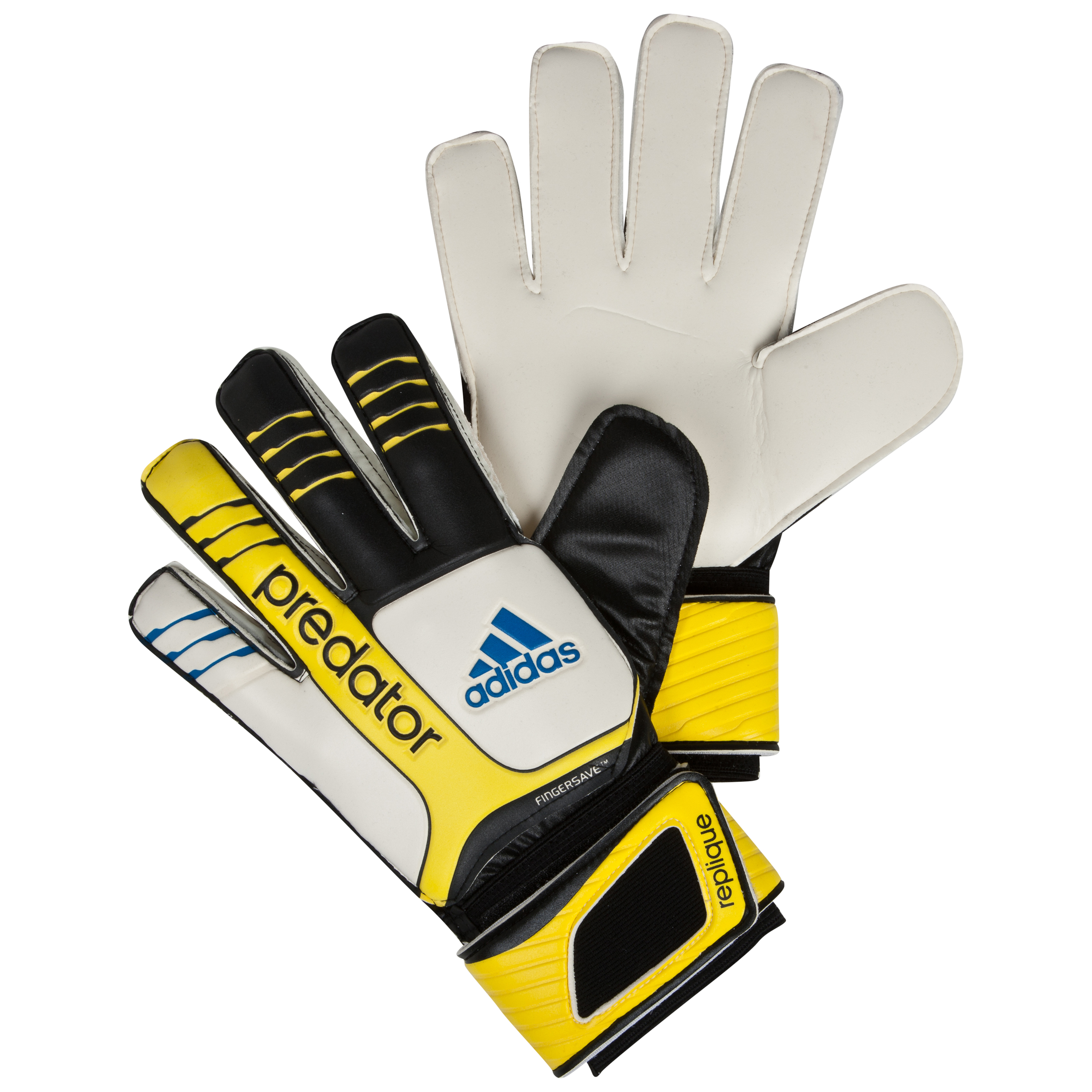 adidas Pred FS Replique Goalkeeper Gloves - Black/White/Vivid Yellow/Prime Blue