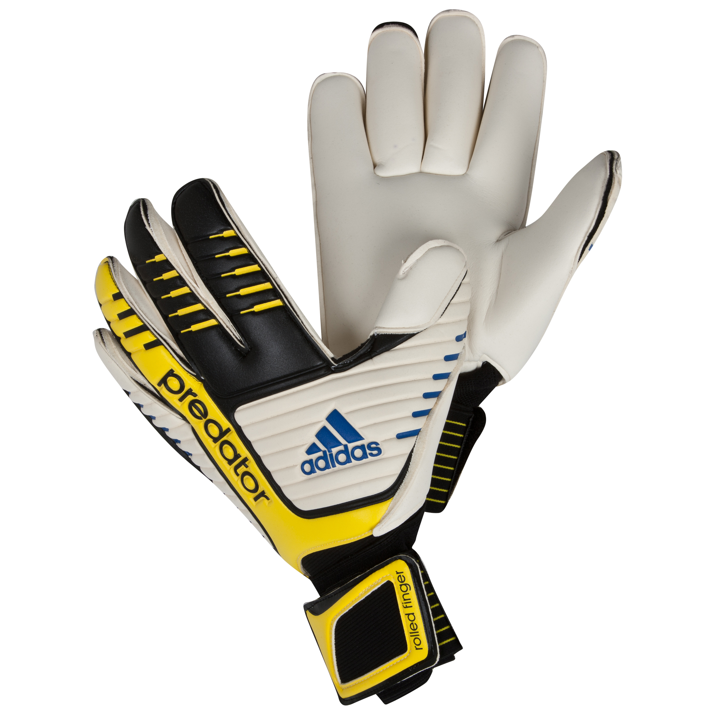 adidas Pred Roll Finger Goalkeeper Gloves - Black/White/Vivid Yellow/Prime Blue