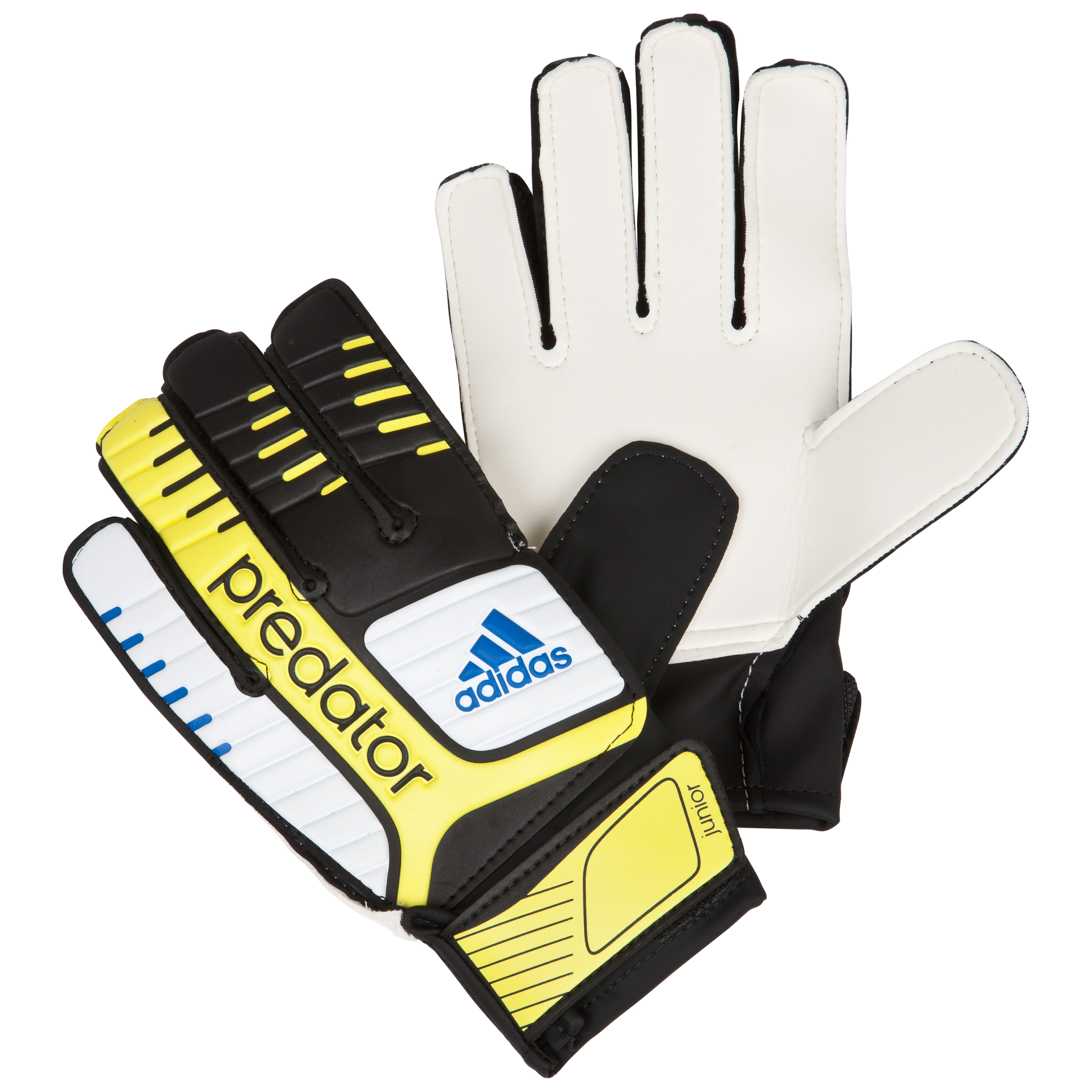 adidas Pred Junior Goalkeeper Gloves - Black/White/Vivid Yellow/Prime Blue