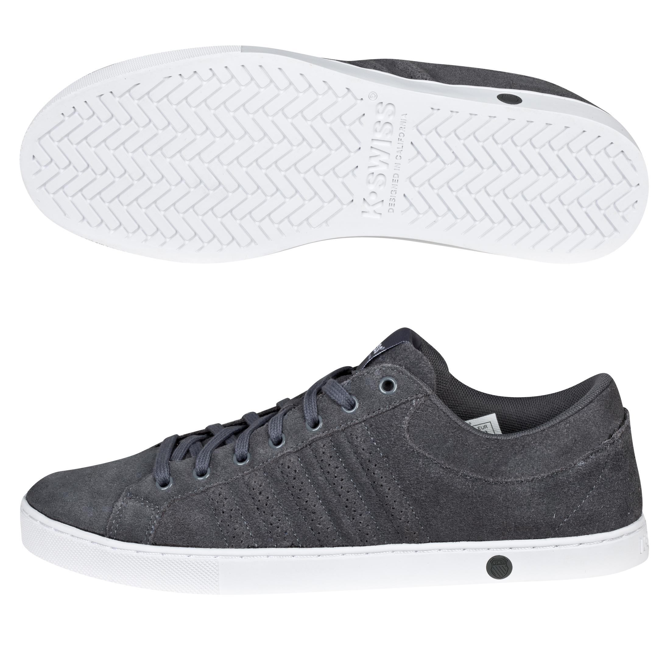 K Swiss K-Swiss Adcourt 72 Suede Trainers - Charcoal/White