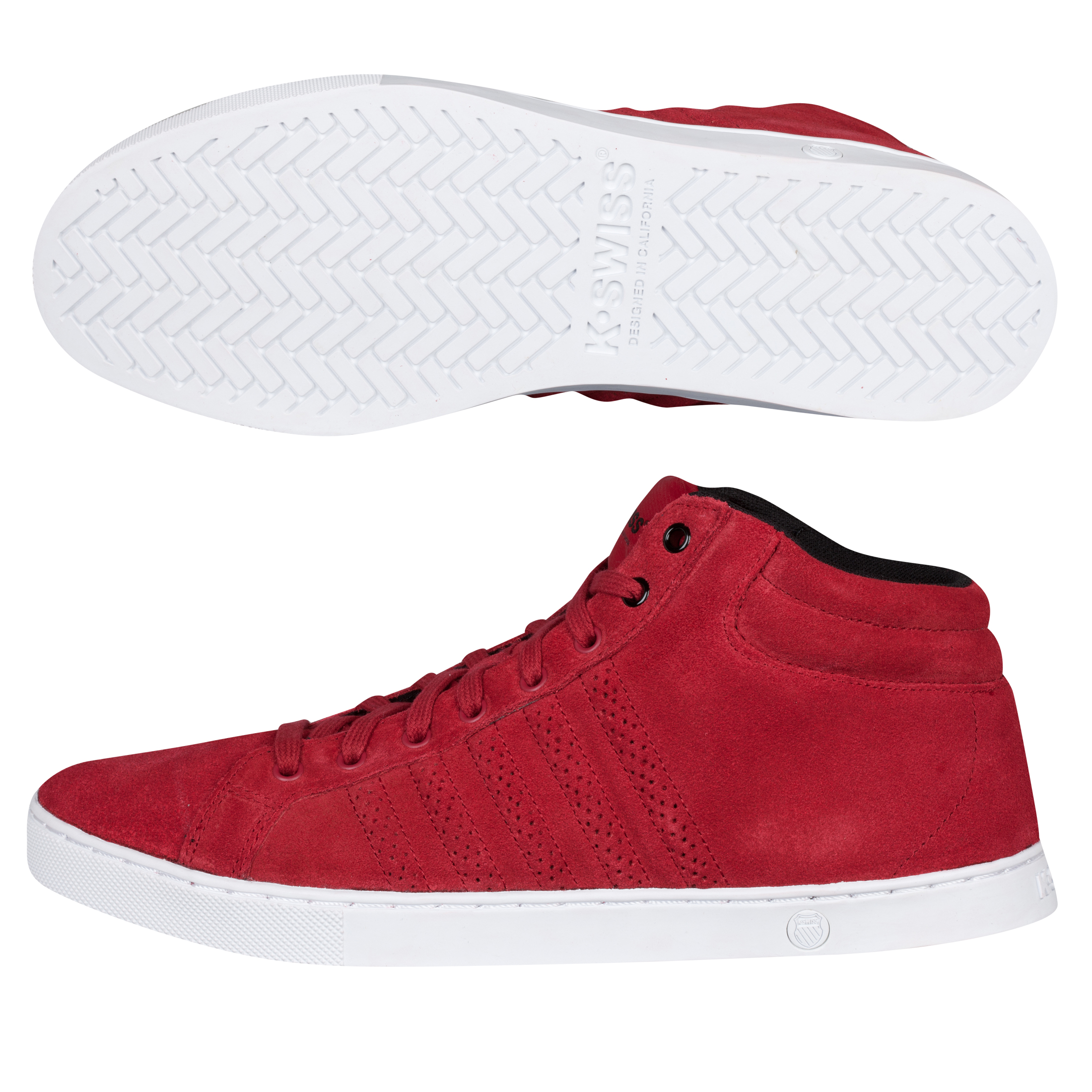 K Swiss K-Swiss Adcourt 72 Mid Suede Trainers - Varsity Red/White/Black