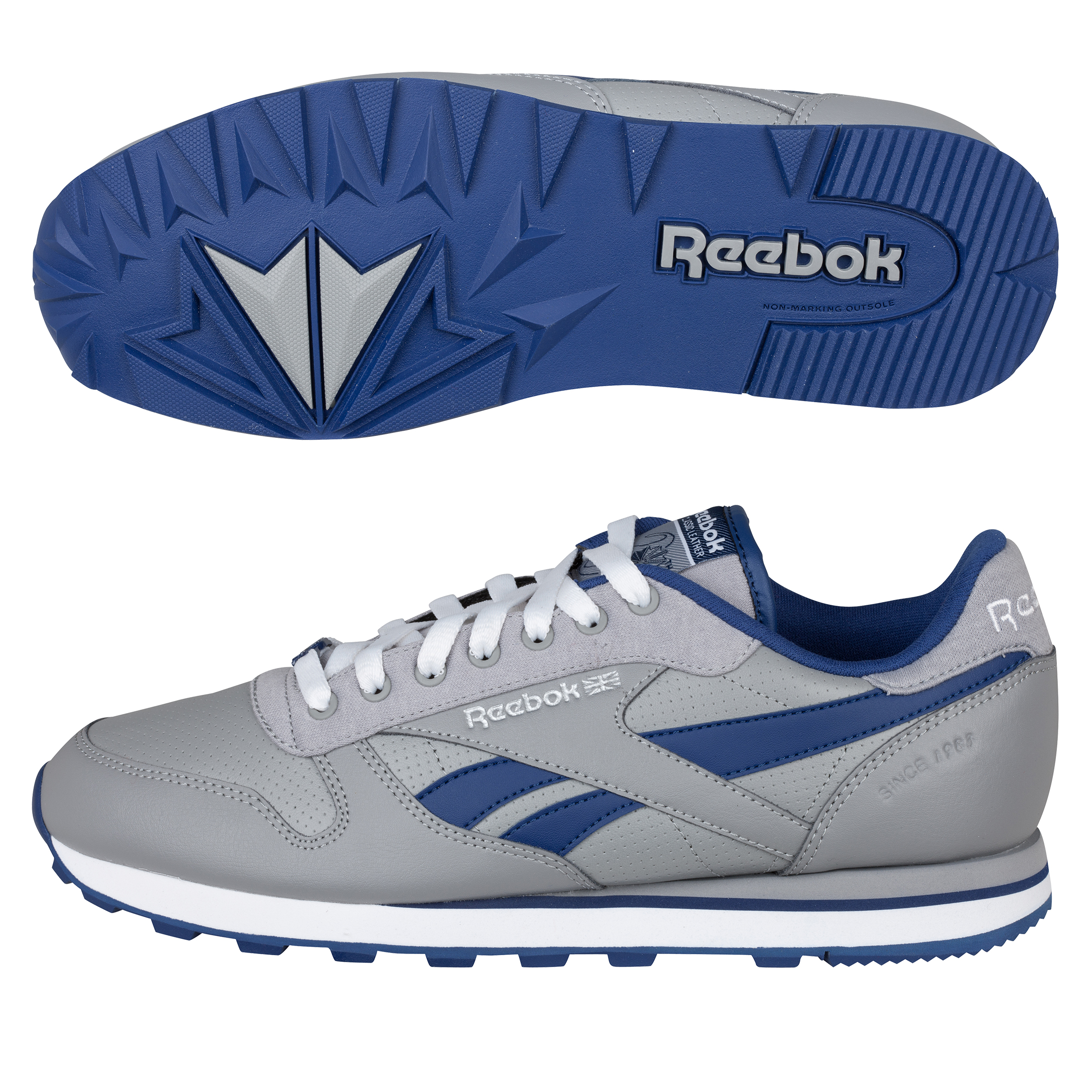 Reebok CL LTHR SC Trainers - Railroad Grey/Club Blue/White/Silver