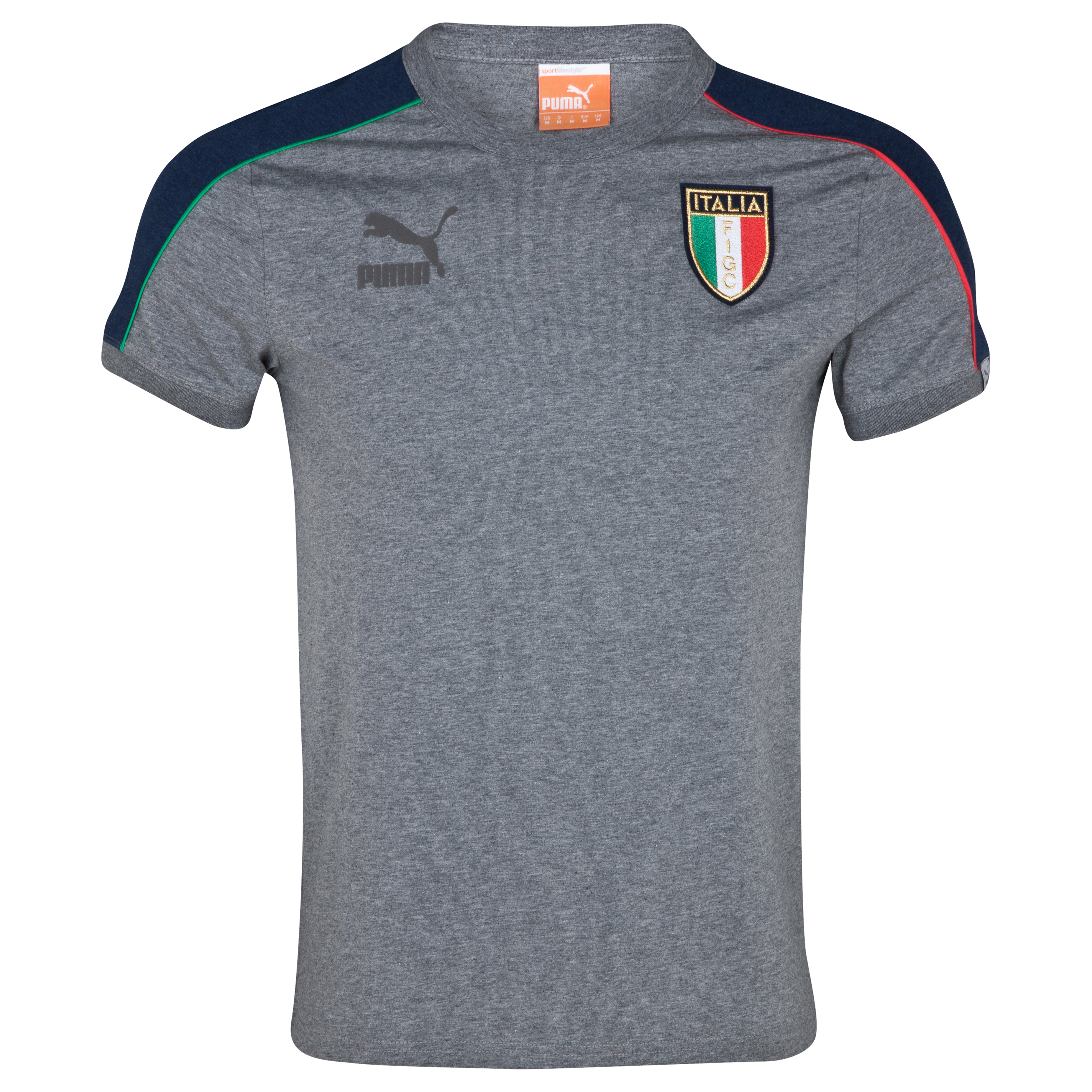 Puma Italy T7 Badge T-Shirt - Medium Grey Heather/Dark Denim Heather