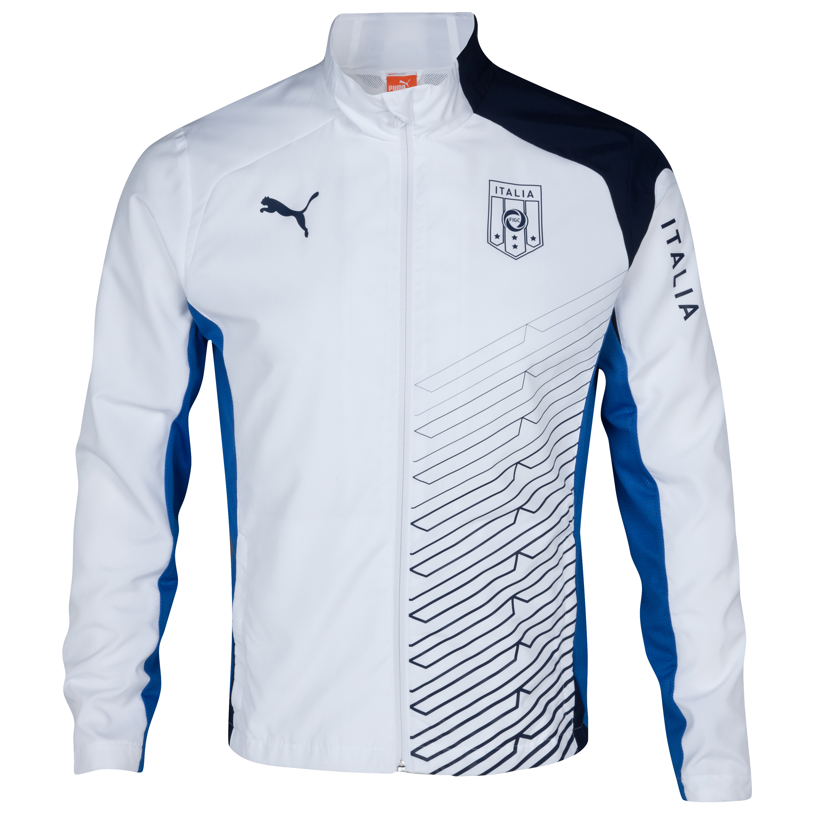 Puma Italy Double Cloth Woven Jacket - Navy/White