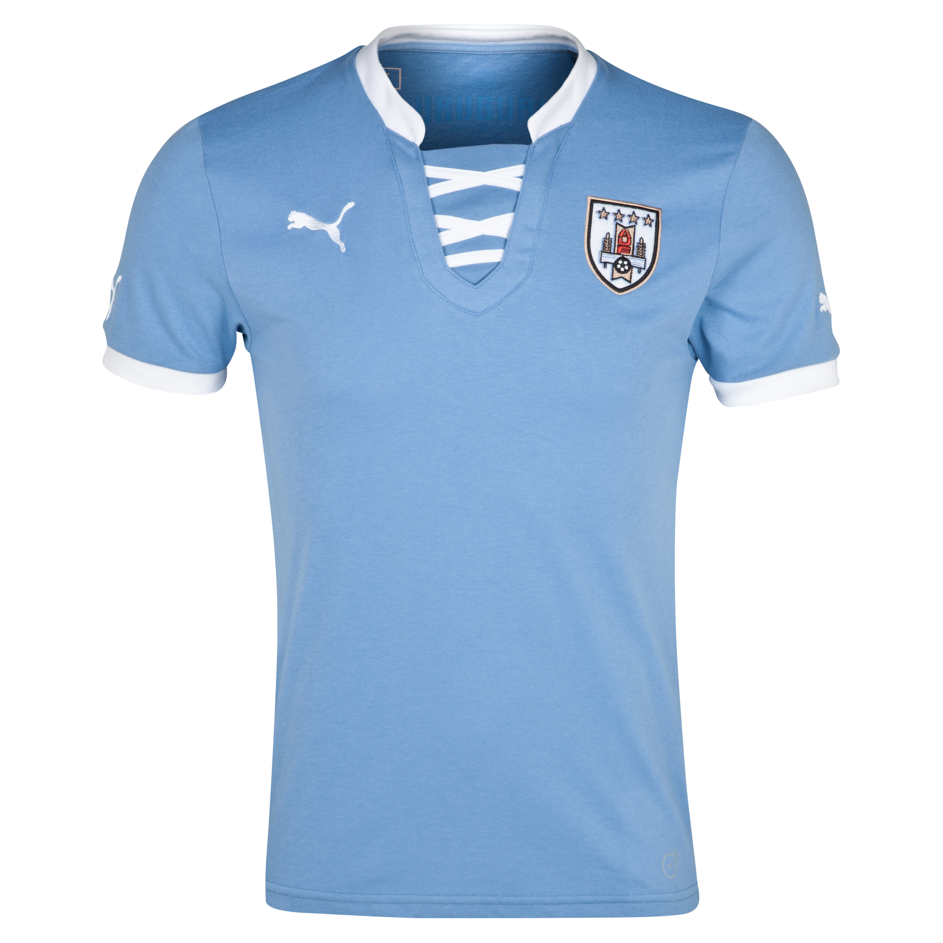 Puma Uruguay Home Shirt 2013/15 - Silver Lake Blue/White