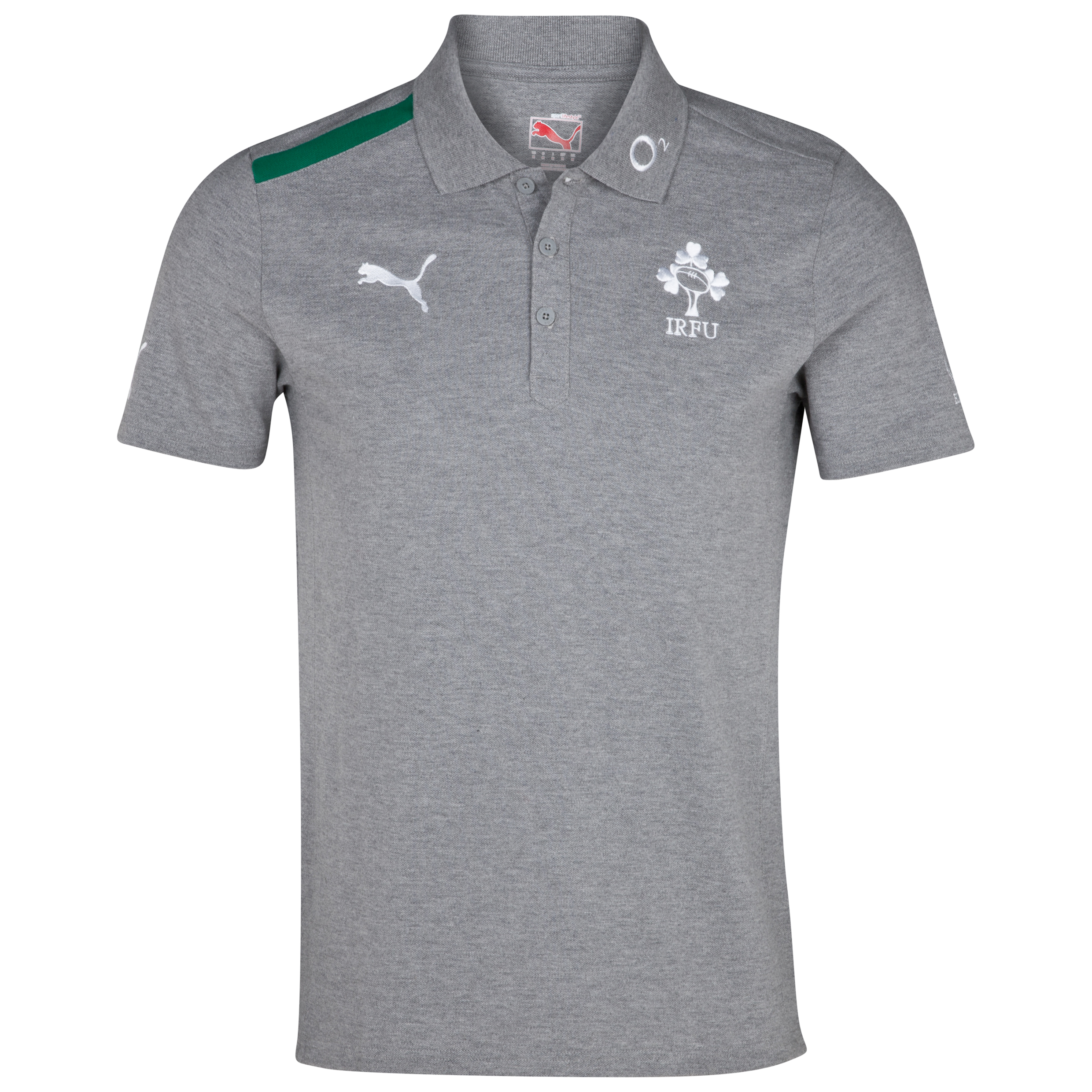 Ireland Rugby Polo - Athletic Heather/Power Green/White