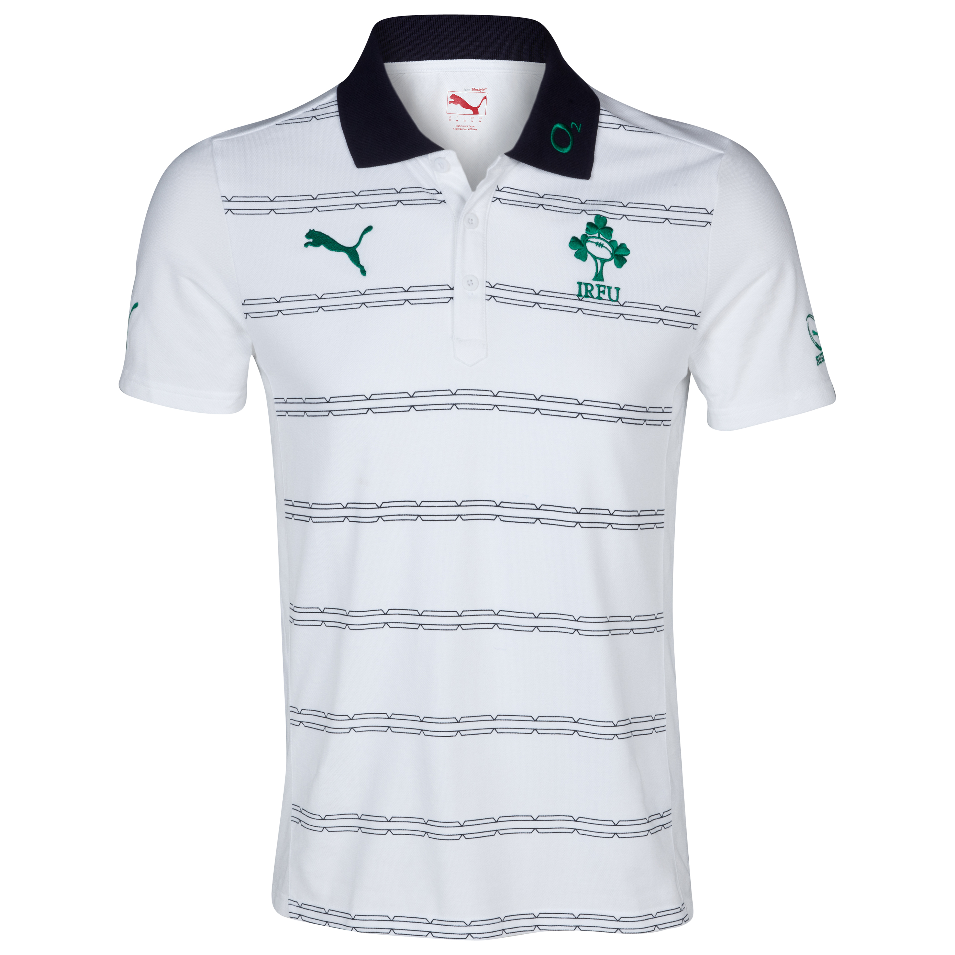Ireland Rugby Hooped Polo - White/New Navy/Powder Green