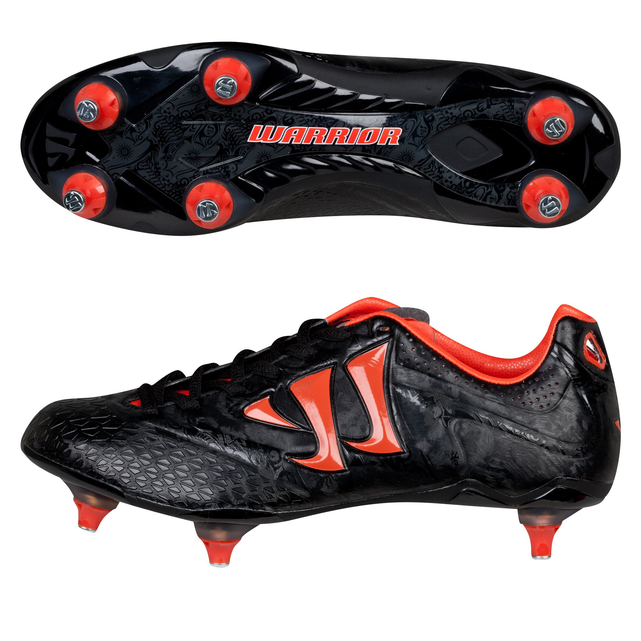 Warrior Sports Skreamer Combat Soft Ground Football Boots - Black/Spicy Orange