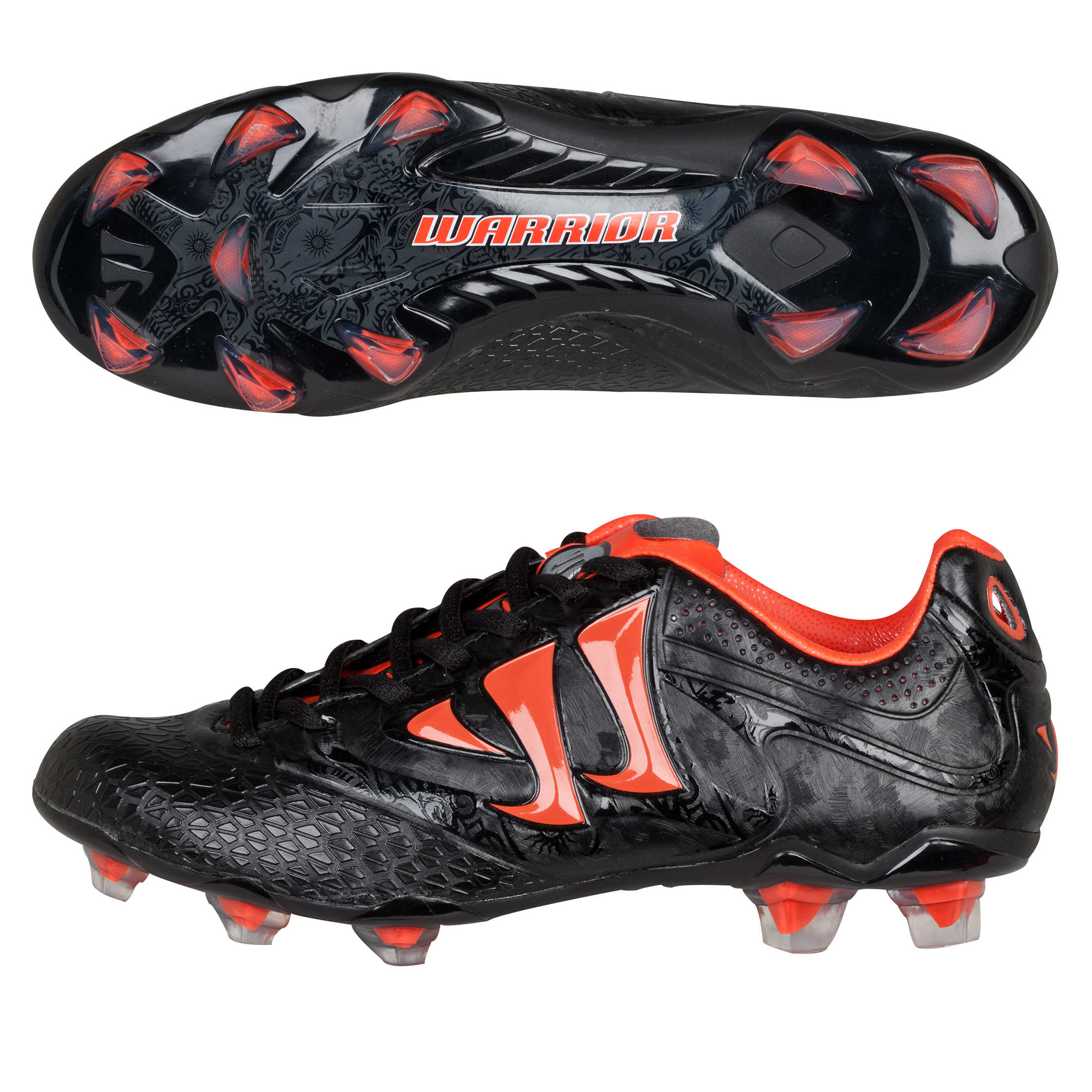 Warrior Sports Skreamer Combat Firm Ground Football Boots - Black/Spicy Orange - Kids