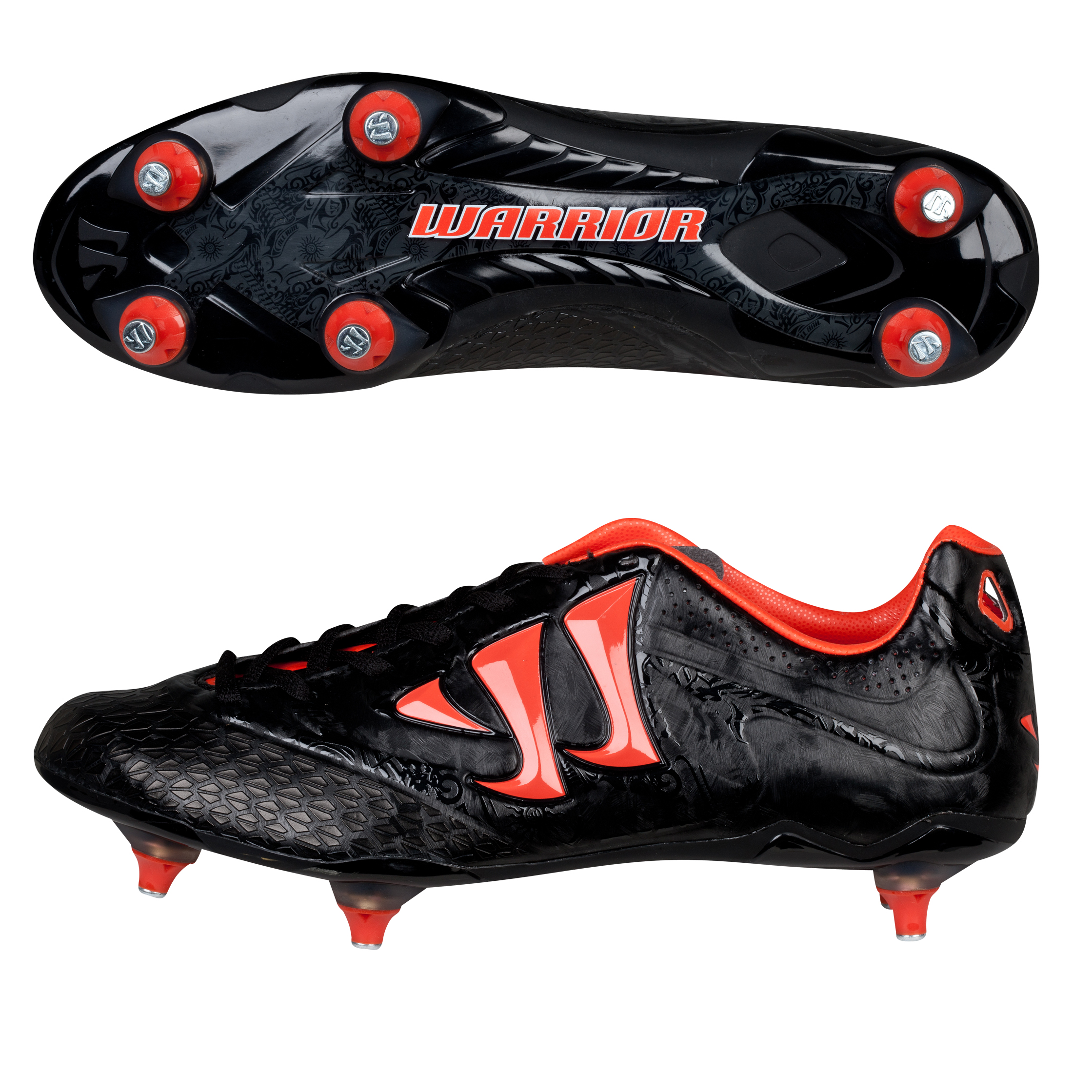 Warrior Sports Skreamer Combat Soft Ground Football Boots - Black/Spicy Orange - Kids