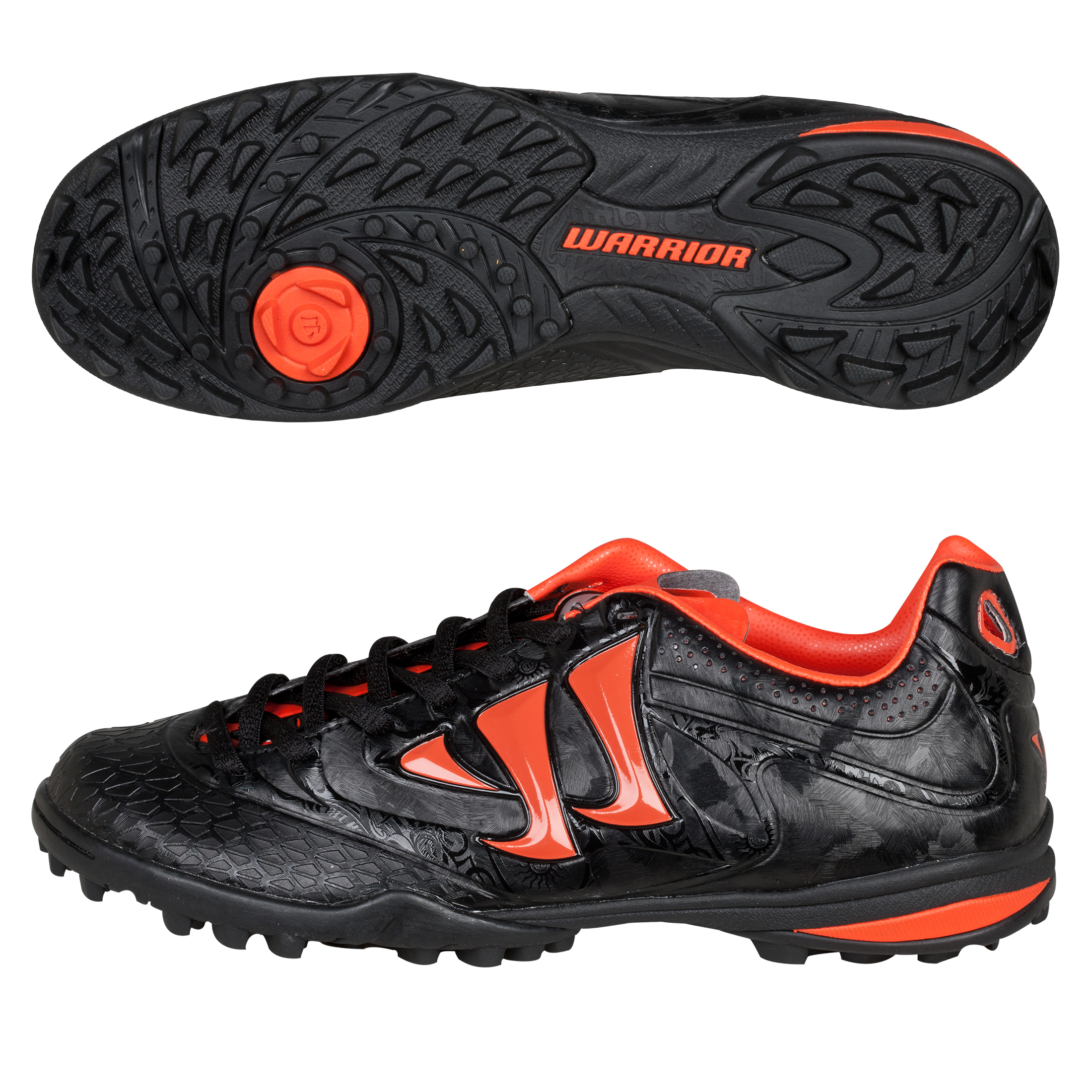 Warrior Sports Skreamer Combat Astroturf Trainers- Kids - Black/Spicy Orange - Kids