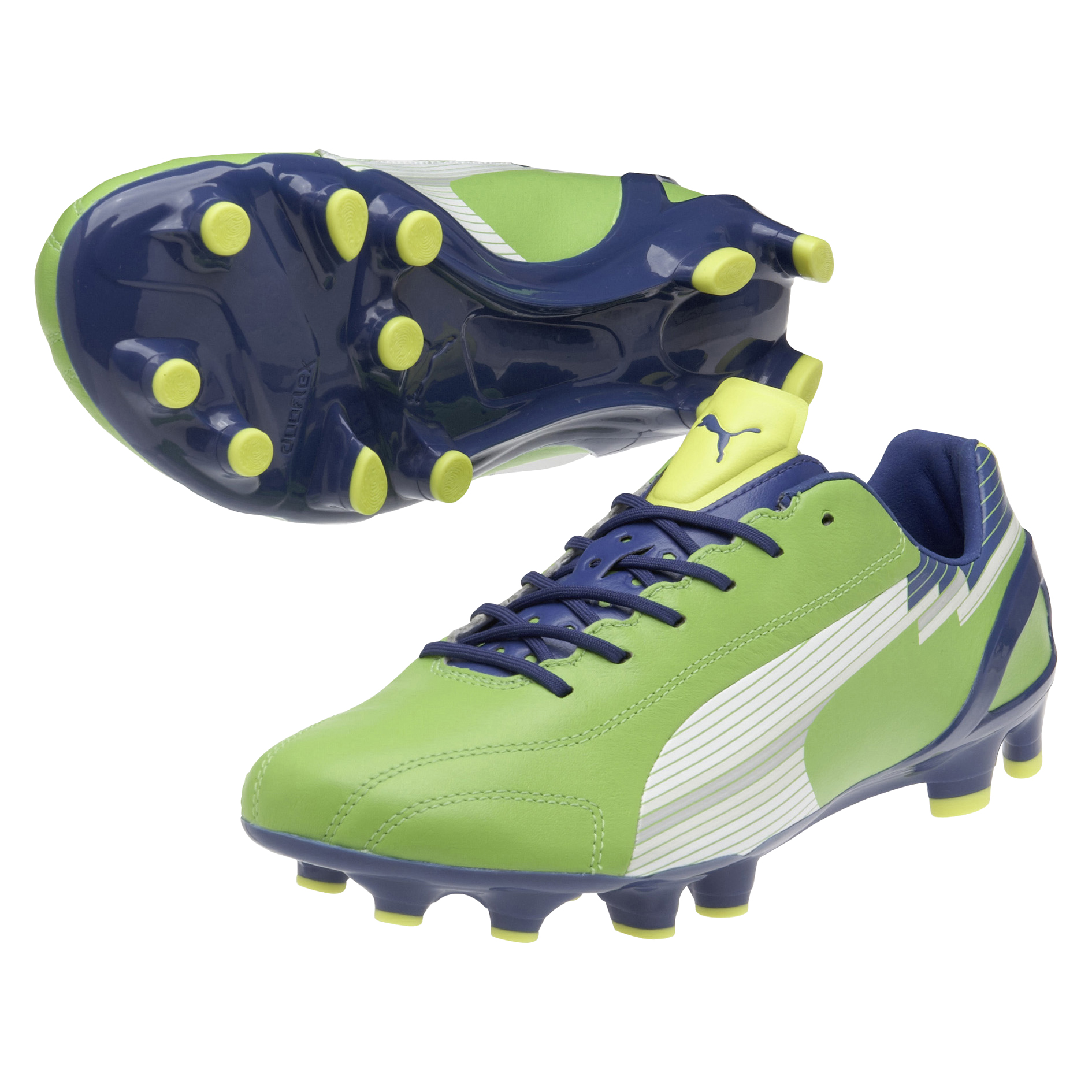 Puma evoSPEED 1 K Firm Ground Football Boots - Jasmin Green/Monaco Blue/Fluo Yellow
