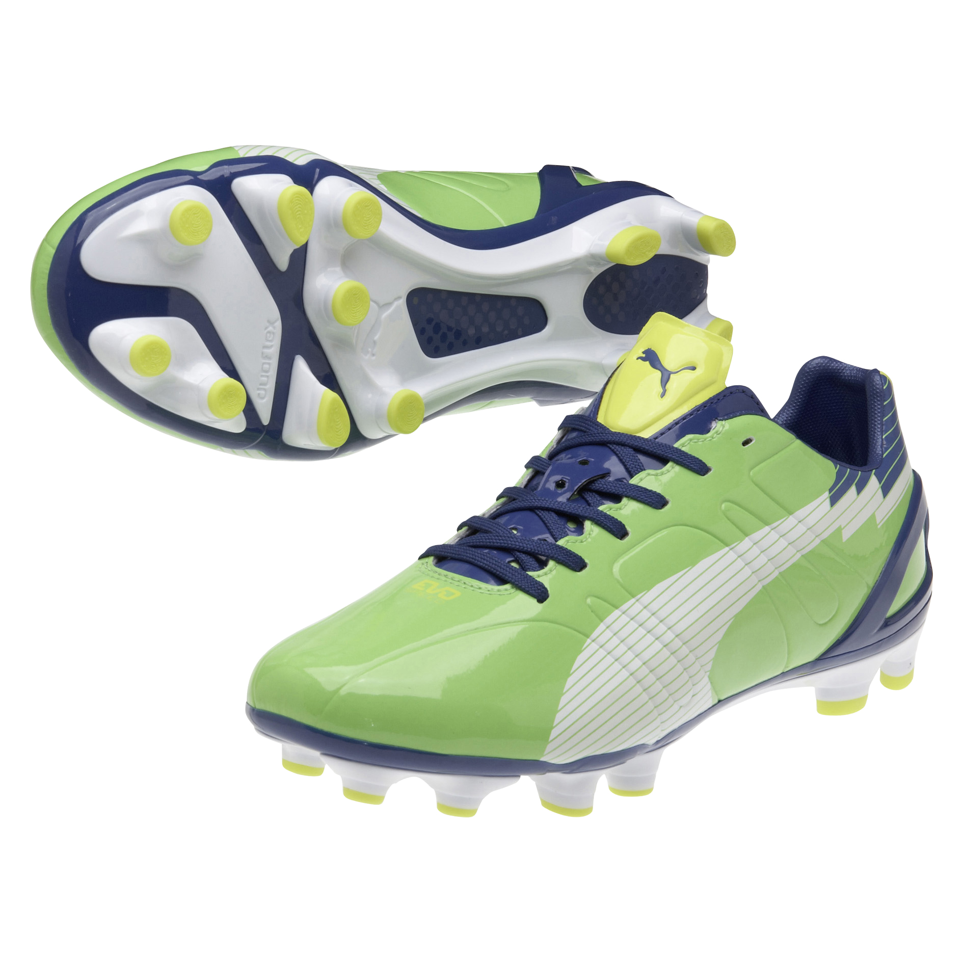 Puma evoSPEED 3 Firm Ground Football Boots - Jasmin Green/Monaco Blue/Fluo Yellow