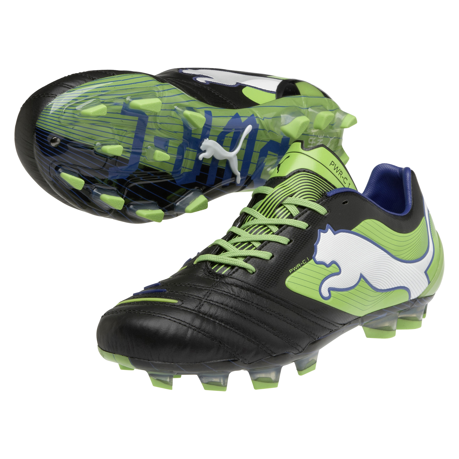 Puma PowerCat 1 Firm Ground Football Boots - Black/Jasmin Green/Monaco Blue