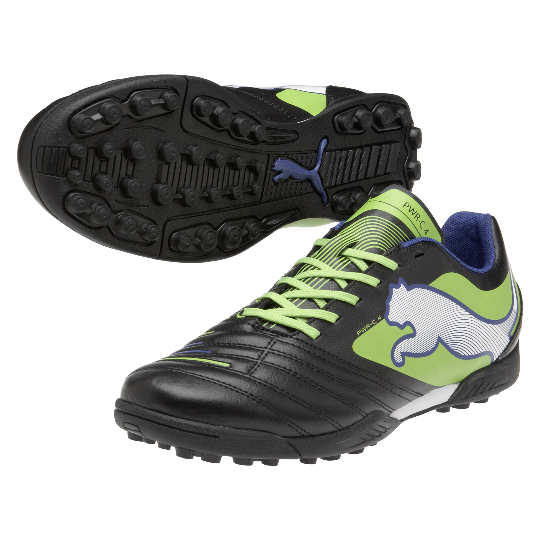 Puma Powercat 4 Astroturf Trainers - Black/Jasmin Green/Monaco Blue