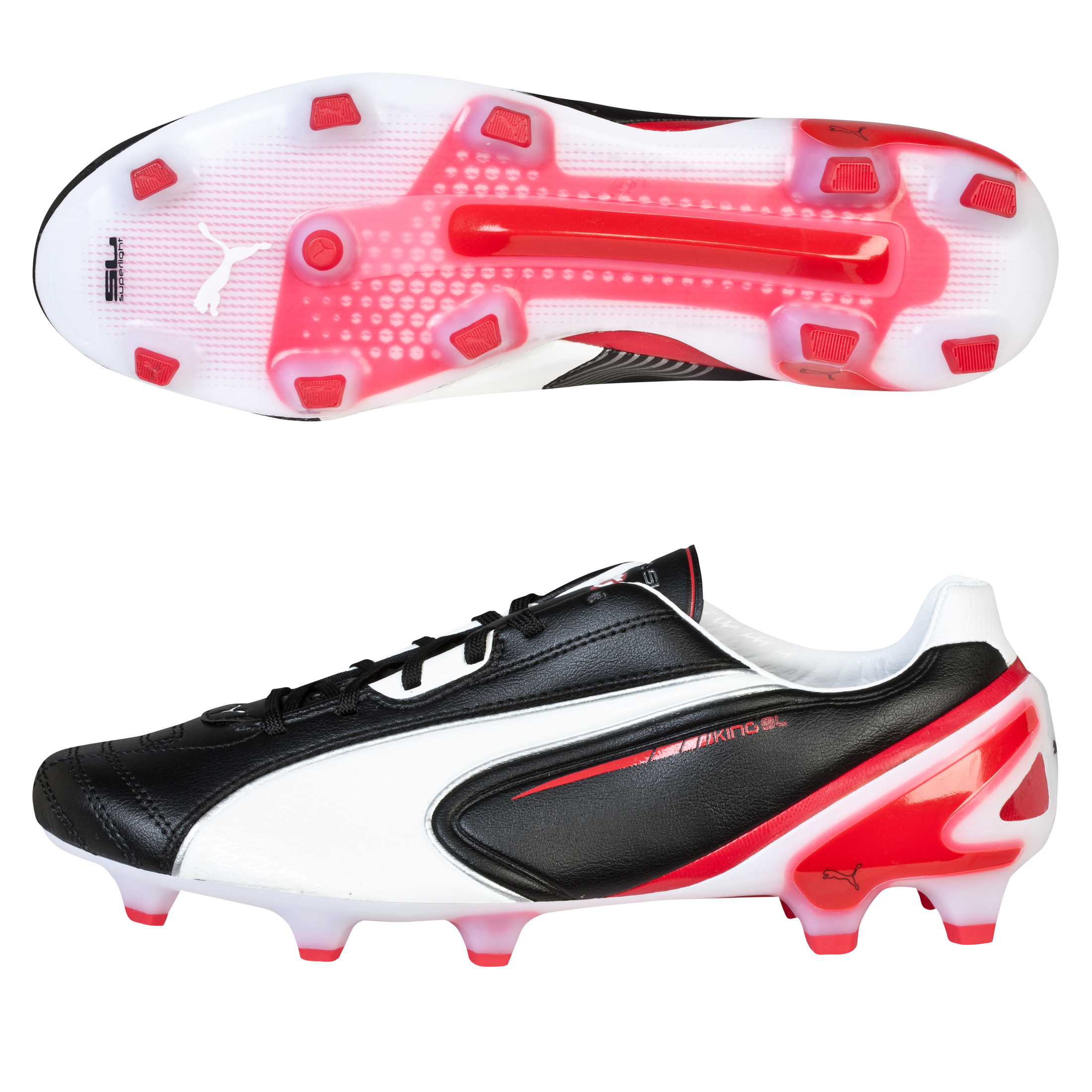 Puma King SL Firm Ground Football Boots - Black/White/Ribbon Red