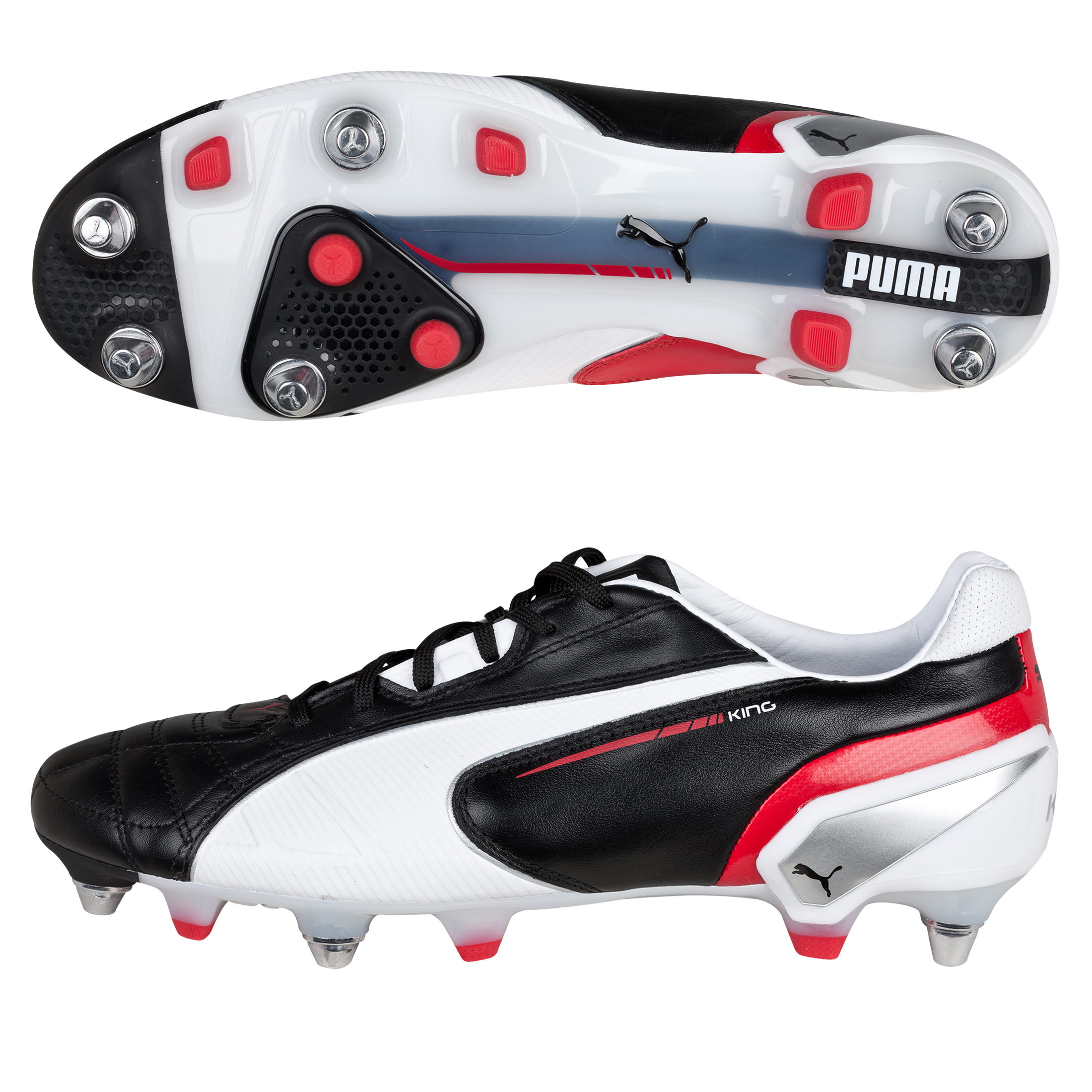 Puma King Mixed Soft Ground Football Boots - Black/White/Ribbon Red
