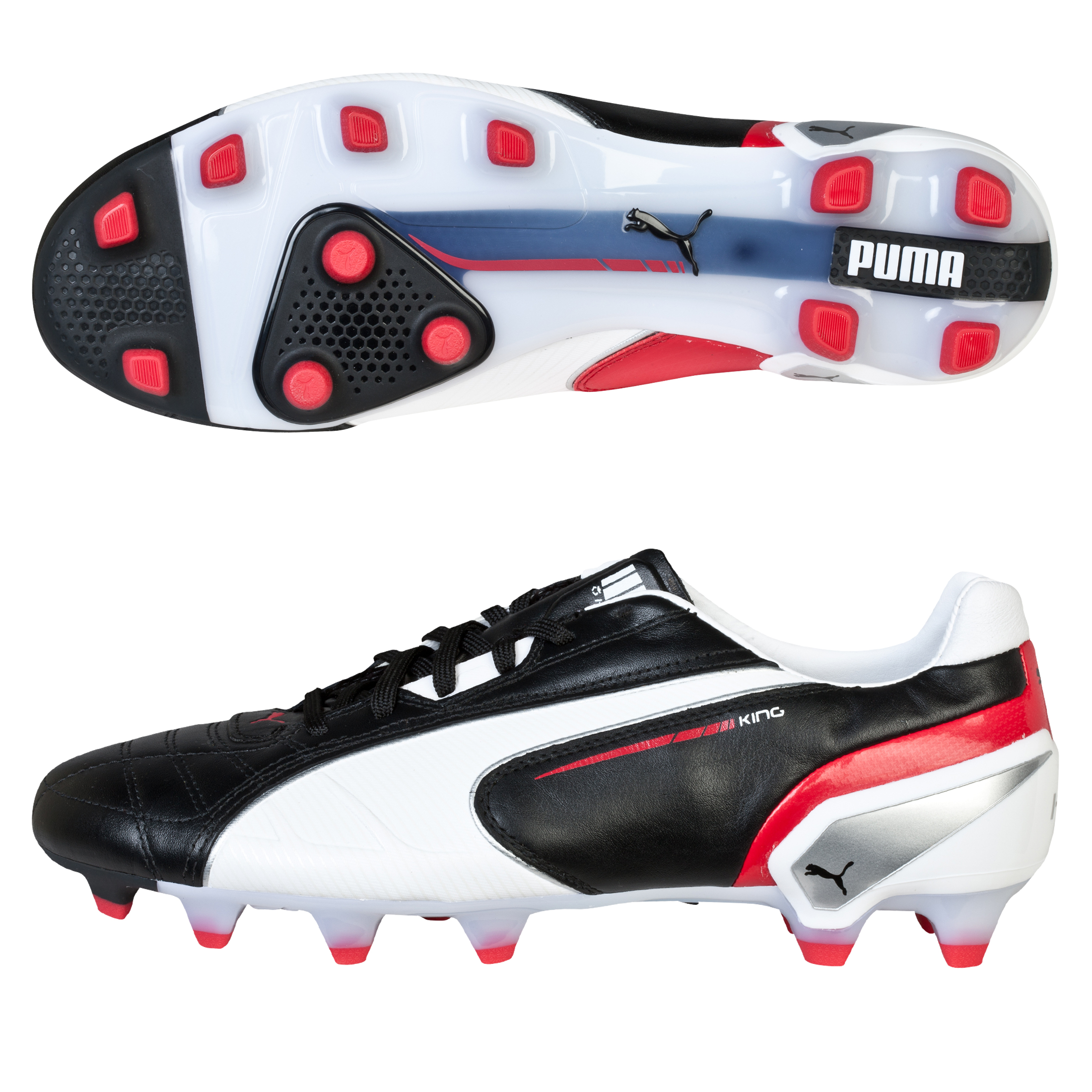 Puma King Firm Ground Football Boots - Black/White/Ribbon Red