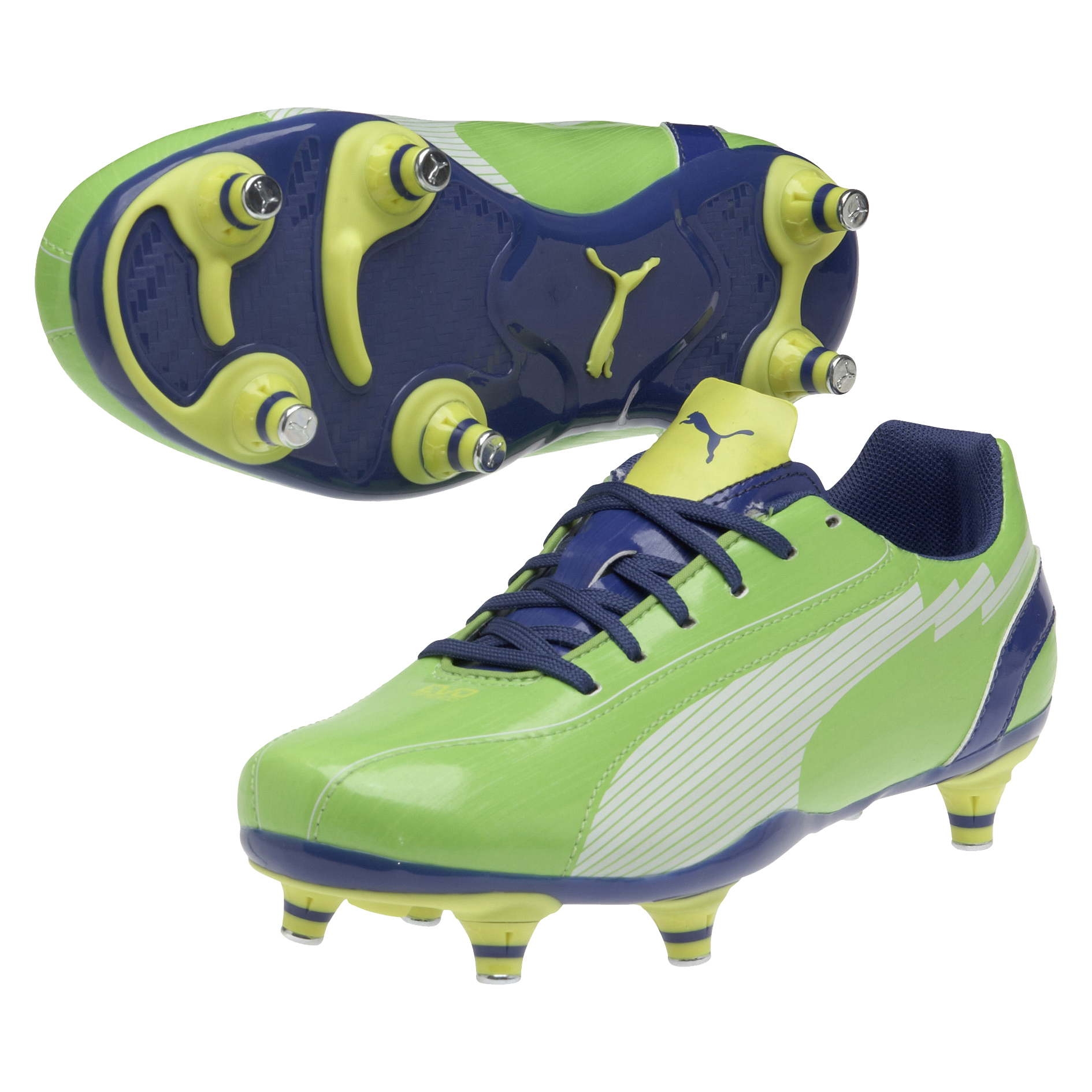 Puma evoSPEED 5 Soft Ground Football Boots - Jasmine Green/White/Monaco Blue/Fluo Yellow - Kids