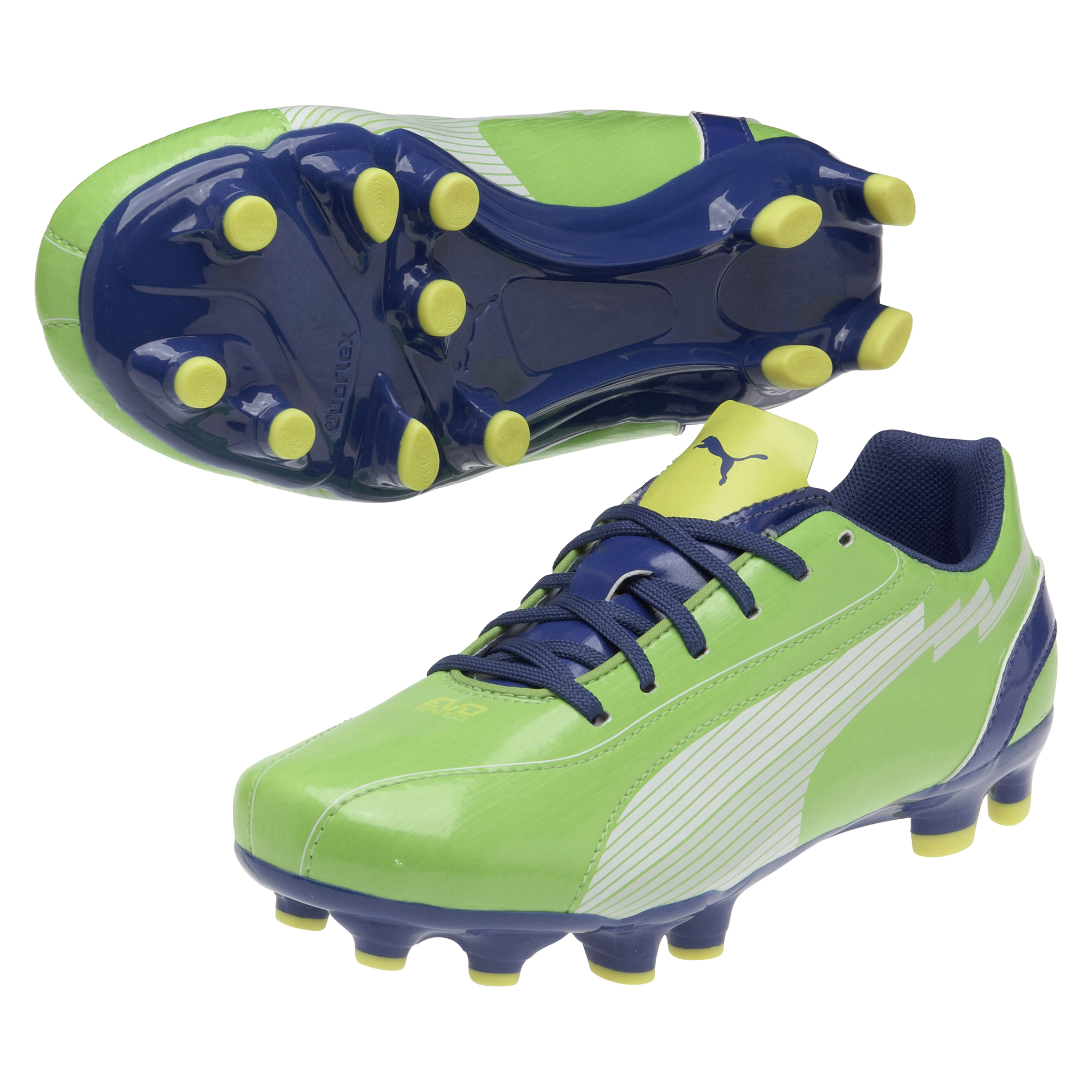 Puma evoSPEED 5 Firm Ground Football Boots - Jasmine Green/White/Monaco Blue/Fluo Yellow - Kids