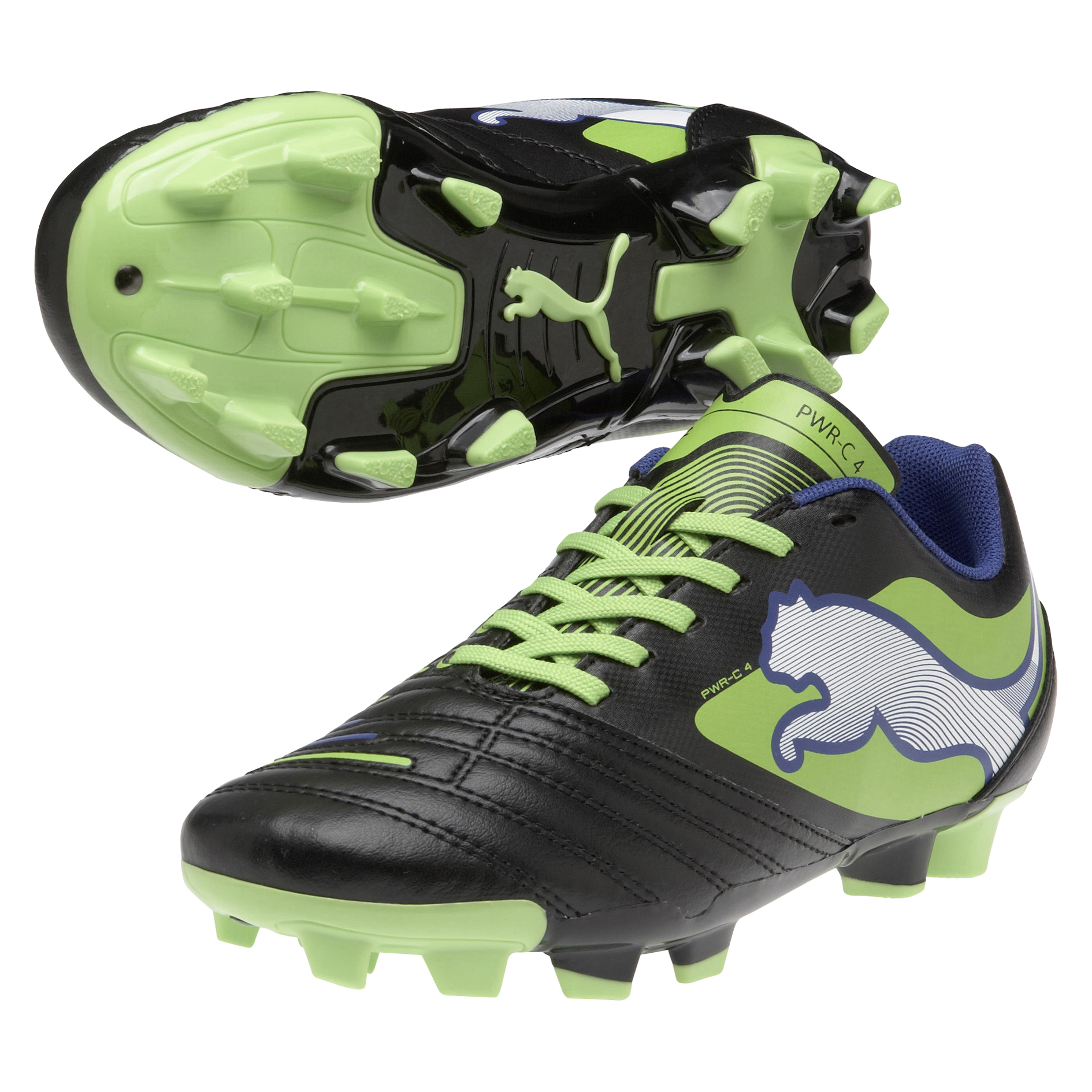 Puma Powercat 4 Firm Ground Football Boots - Black/Jasmin Green/Monaco Blue - Kids