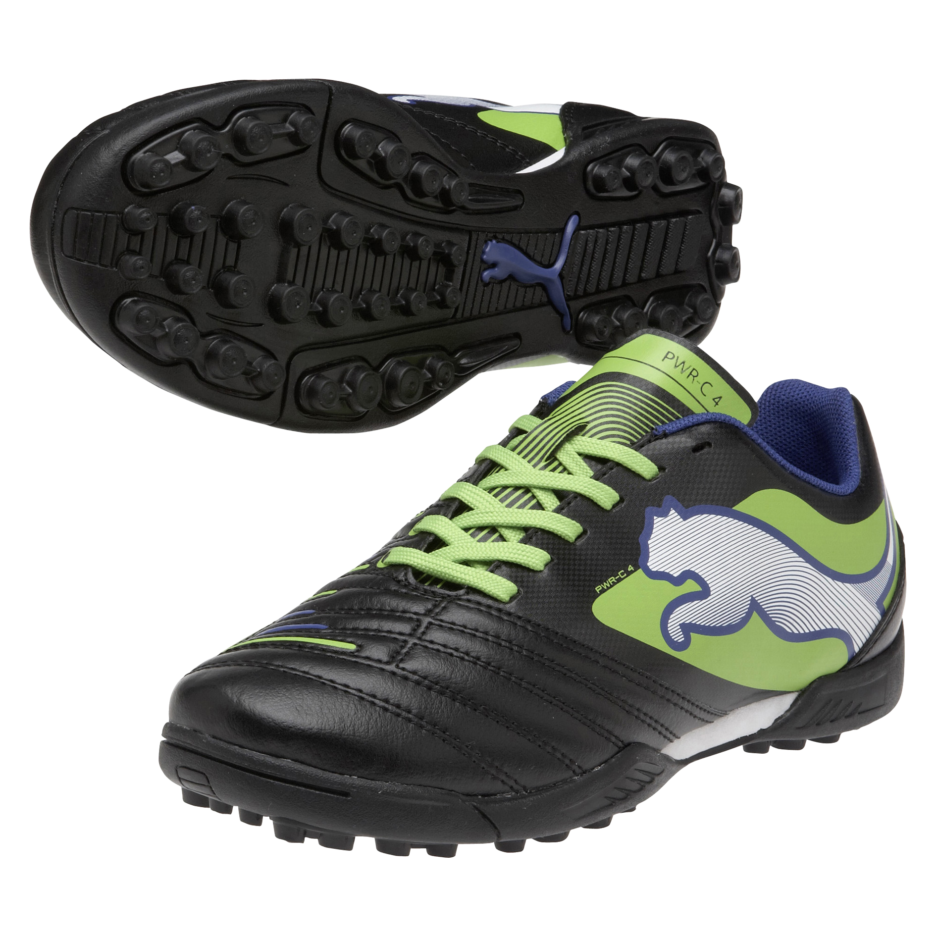 Puma Powercat 4 Astroturf Trainers - Black/Jasmin Green/Monaco Blue - Kids