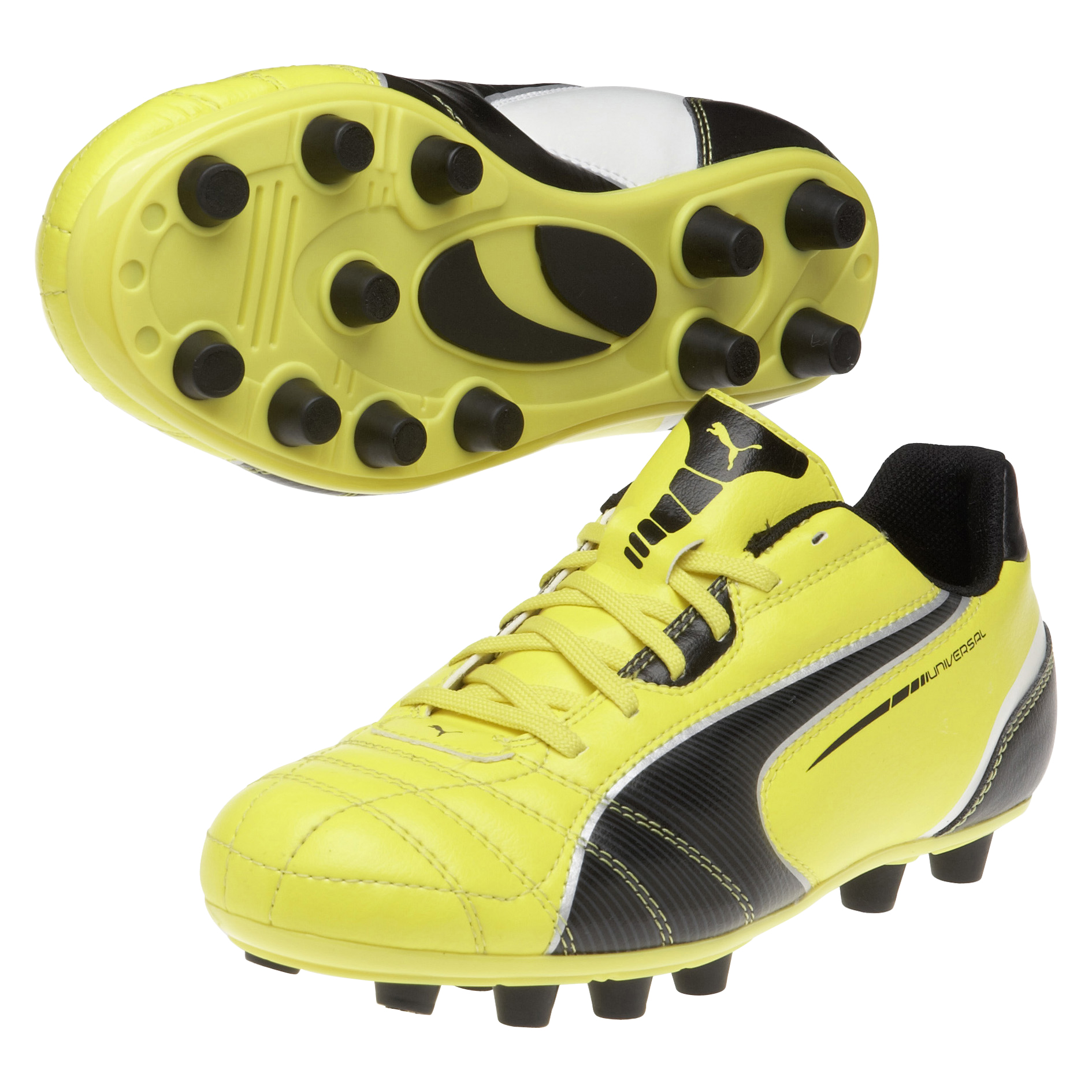 Puma Universal Firm Ground Football Boots - Blazing Yellow/Black/White - Kids